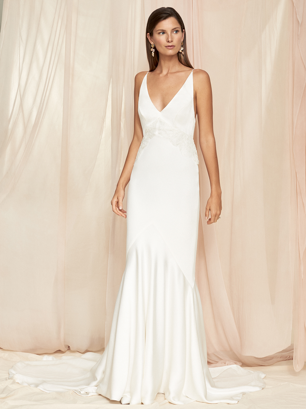 Savannah Miller sleeveless v-neck sheath train wedding dress fall 2020