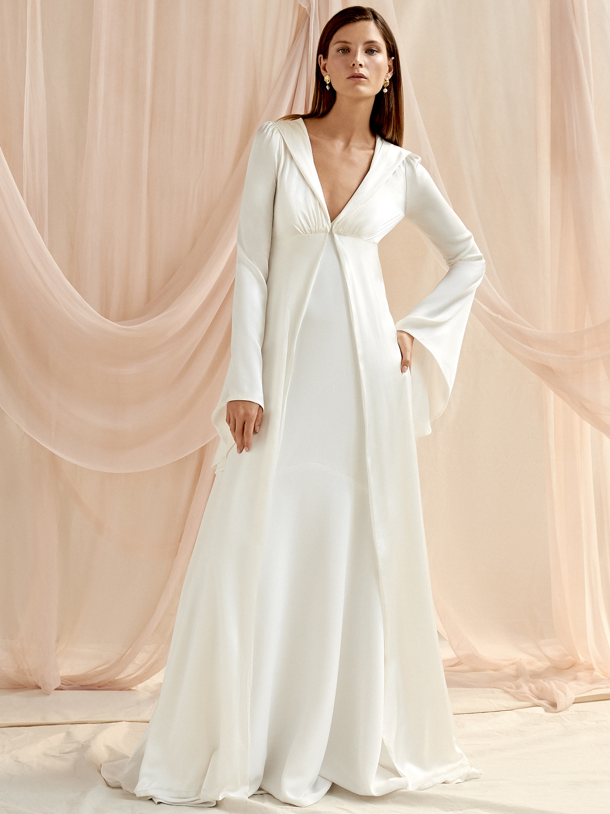 Savannah Miller long bell sleeve collar v-neck a-line wedding dress fall 2020