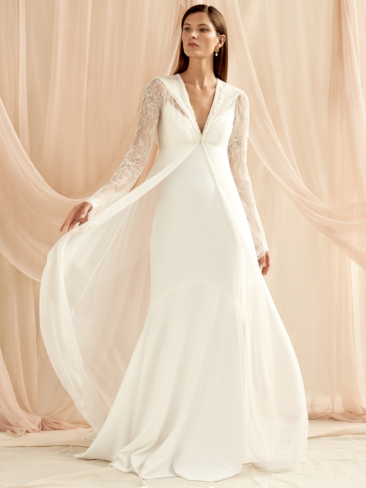 Savannah Miller lace long sleeve n-neck sheer over skirt wedding dress fall 2020