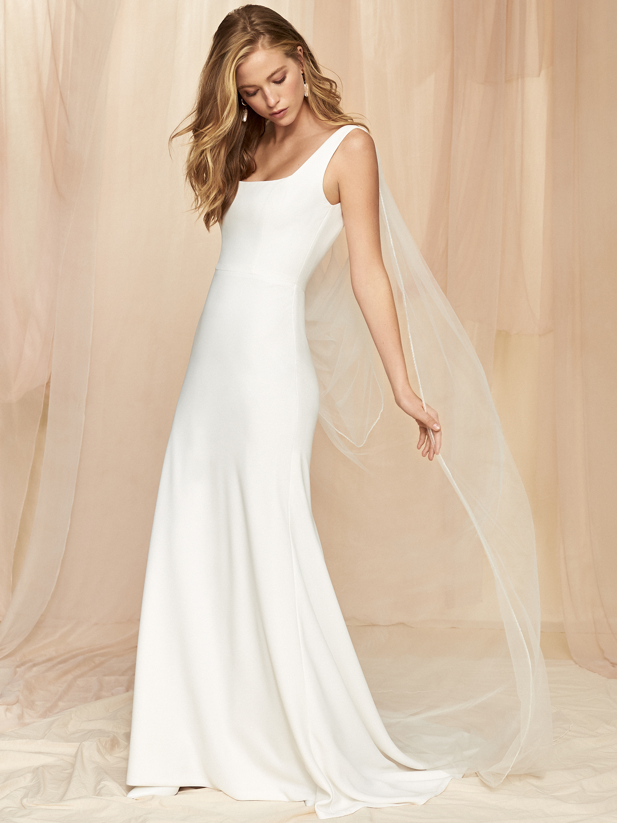 Savannah Miller thin strap sleeveless fit and flare wedding dress fall 2020