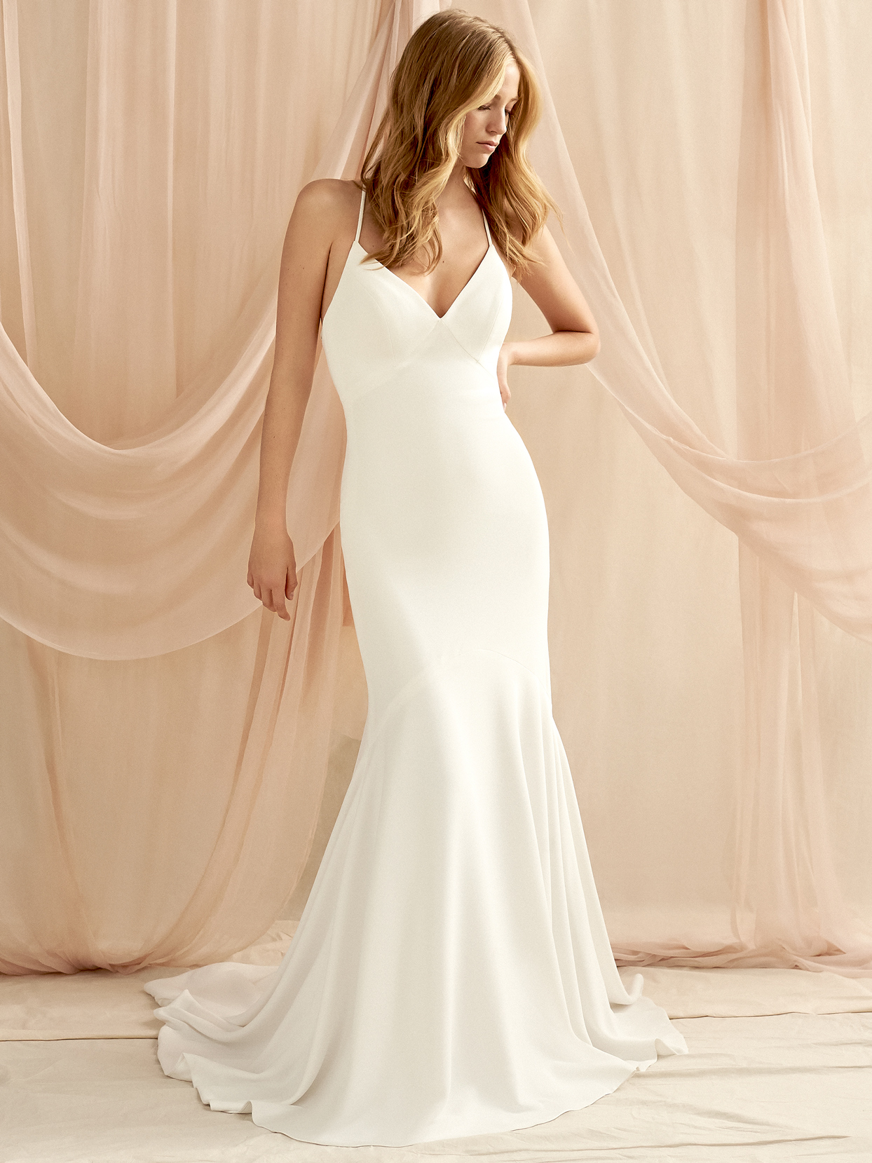 Savannah Miller spaghetti strap v-neck trumpet wedding dress fall 2020