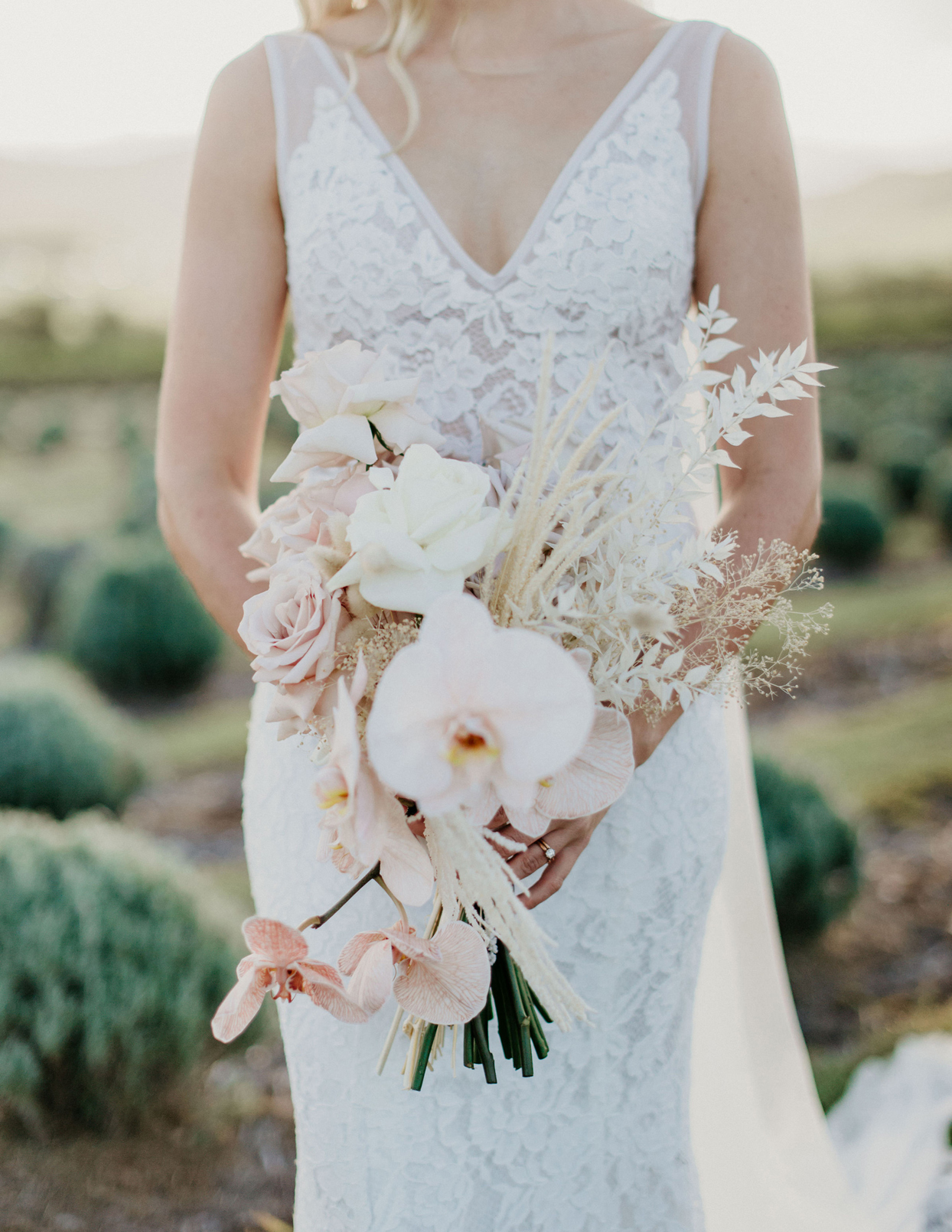 pink and white floral wedding bouquet