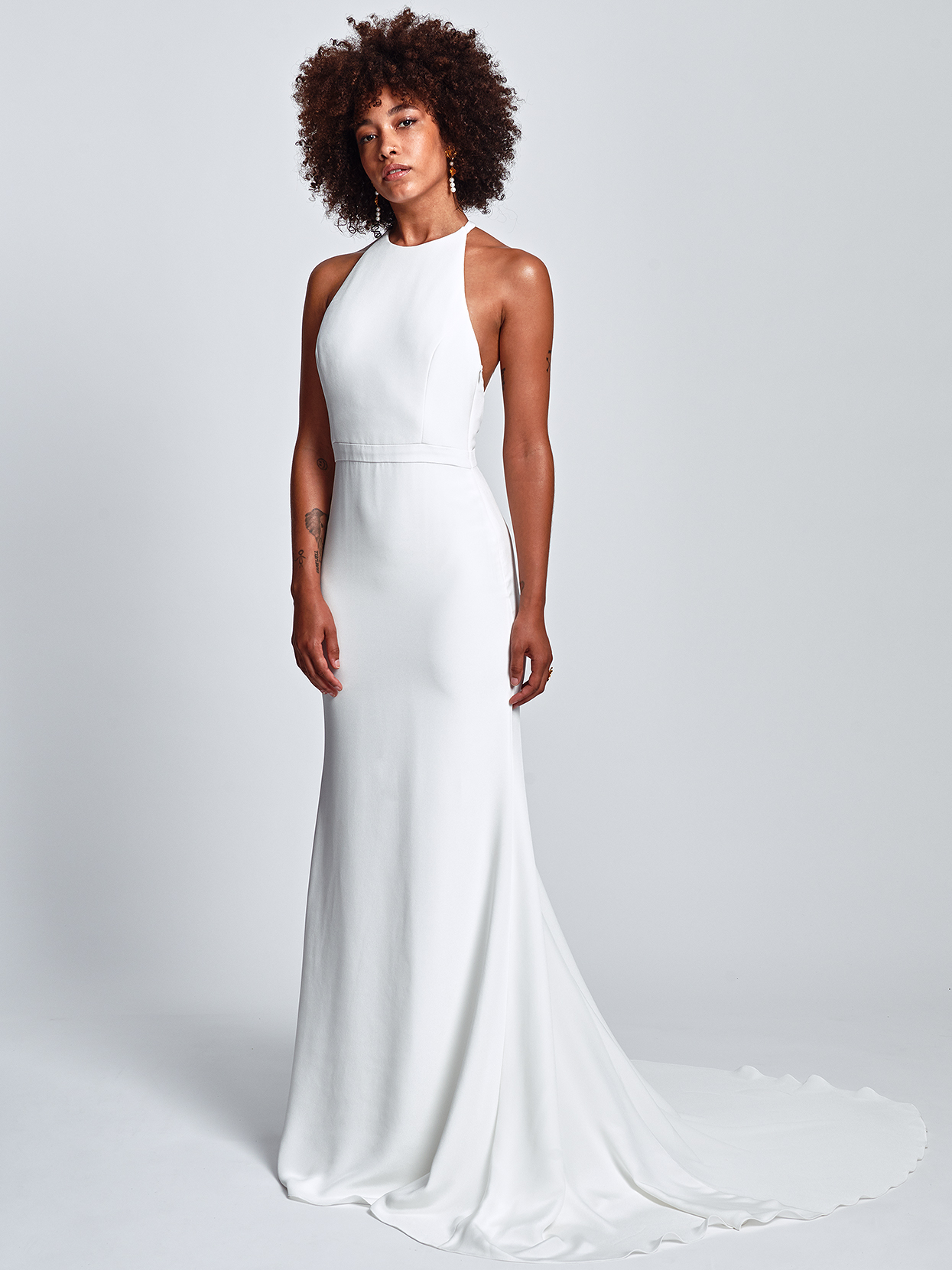 Alexandra Grecco minimalist high-neck a-line wedding dress fall 2020