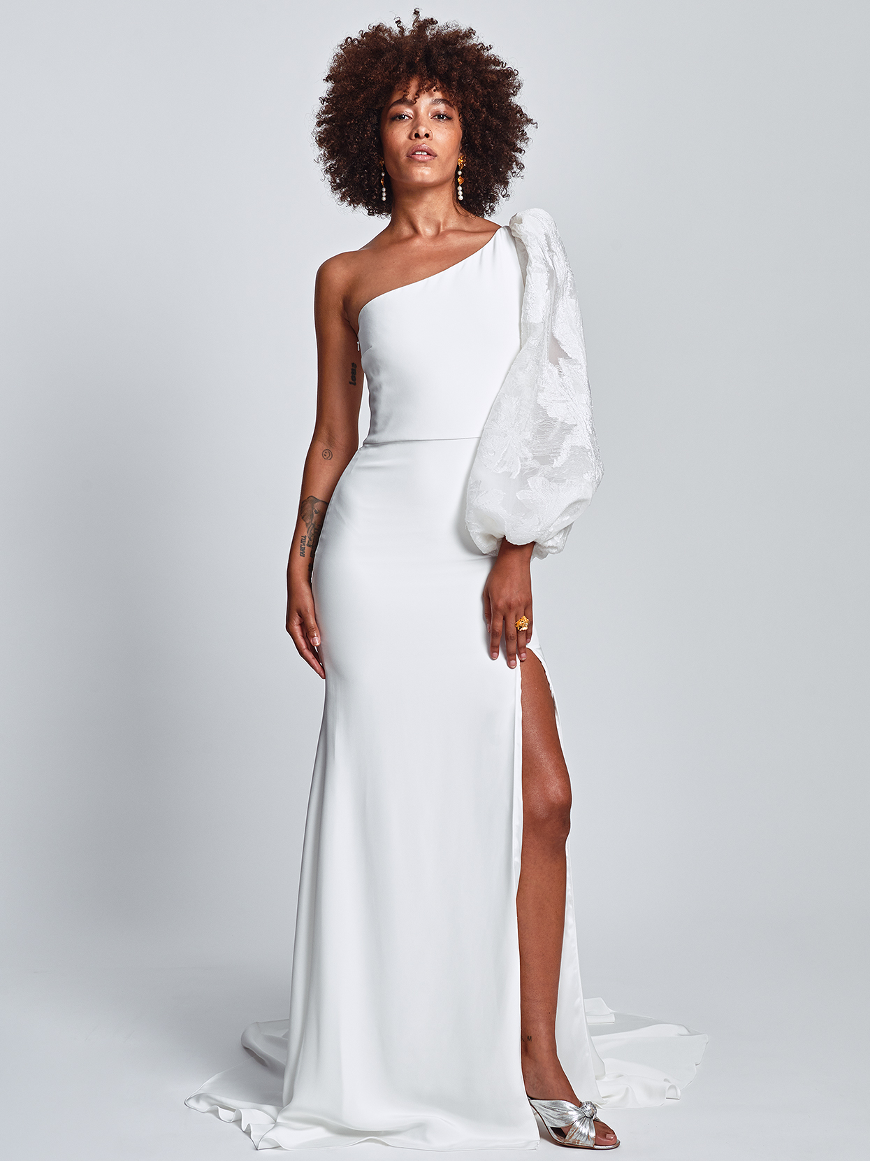 Alexandra Grecco asymmetrical one bishop-sleeved wedding dress fall 2020