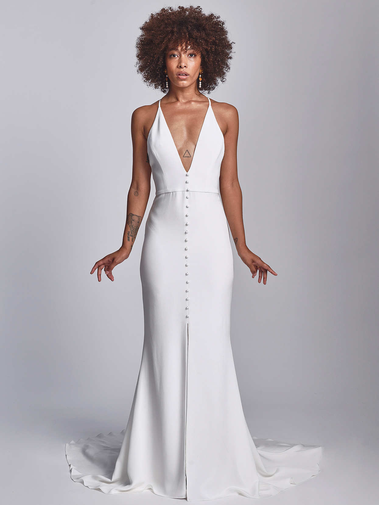 Alexandra Grecco minimalist plunging neck with buttons wedding dress fall 2020