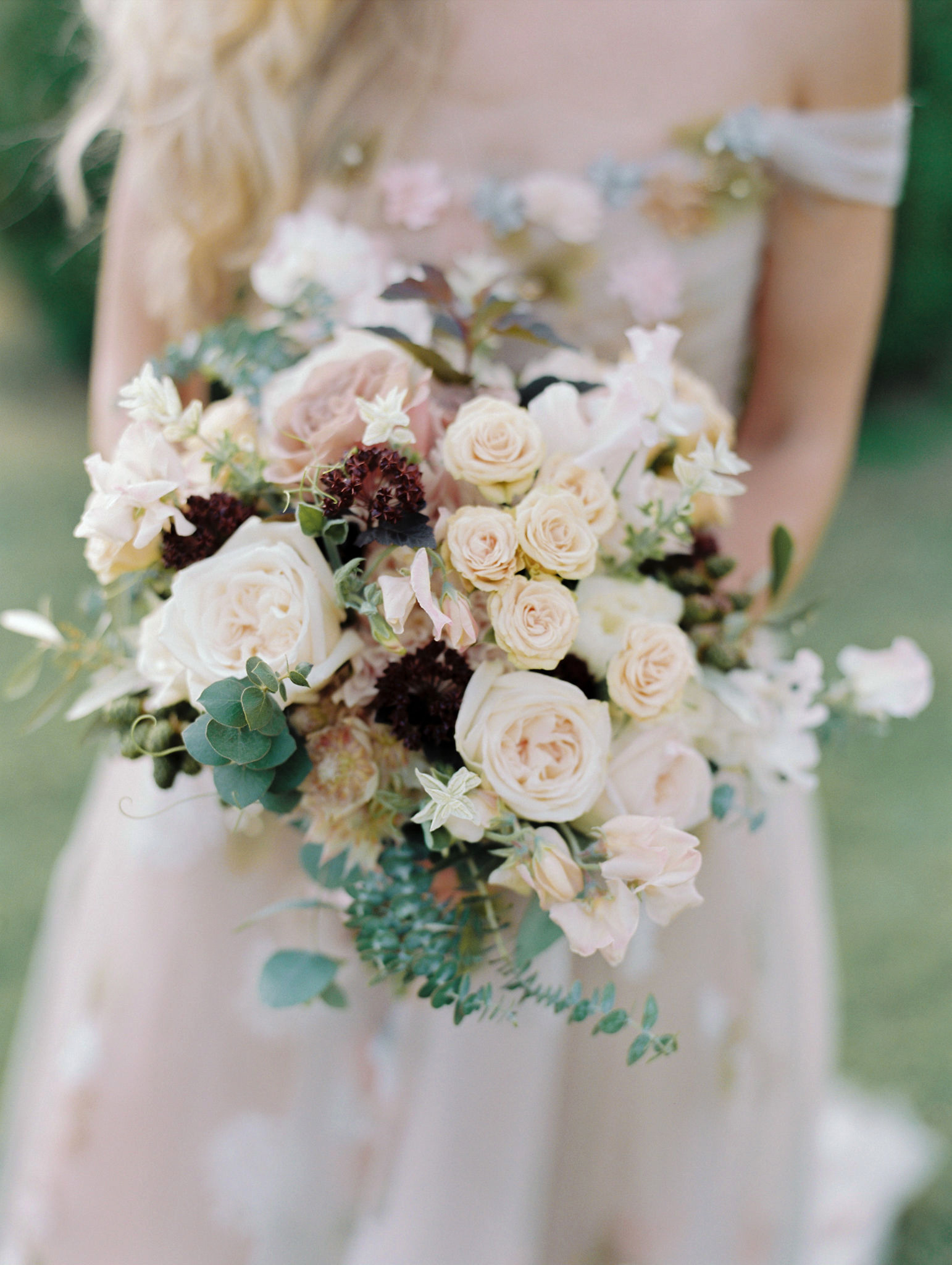 close-up bride's bouquet