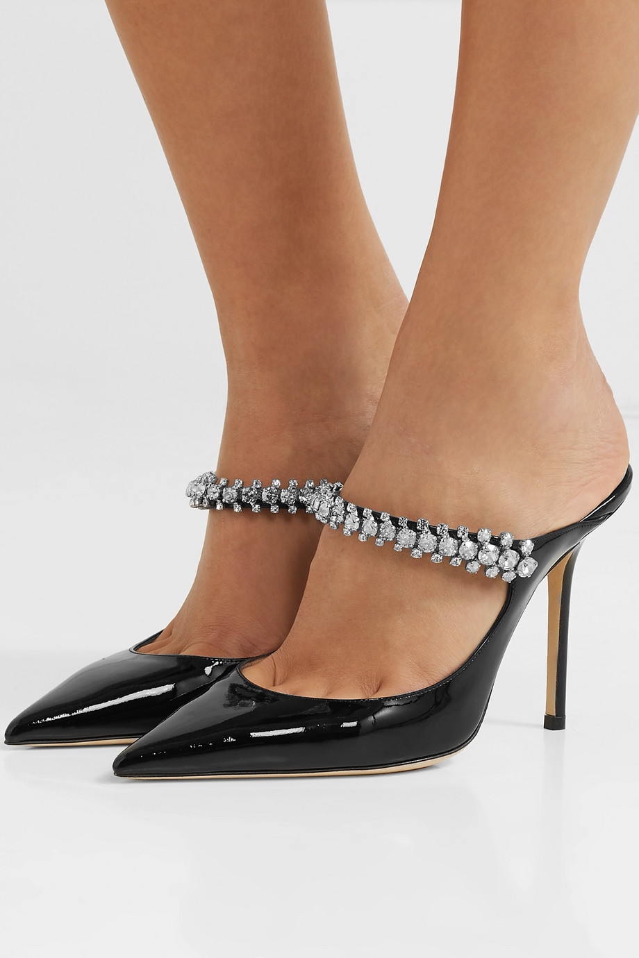 """Jimmy Choo """"Bing 100"""" Crystal-Embellished Patent Leather Mules"""
