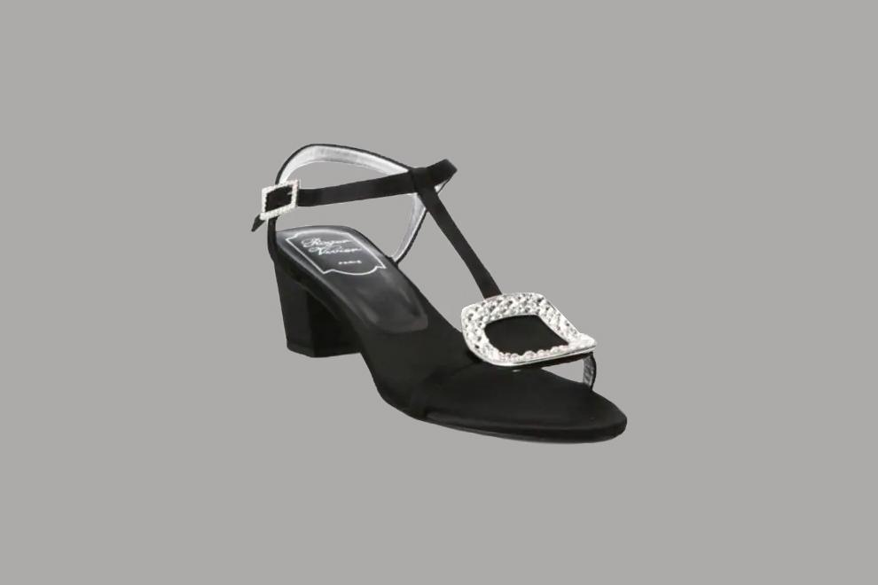 """Roger Vivier """"Chips"""" Crystal-Embellished Satin Sandals"""