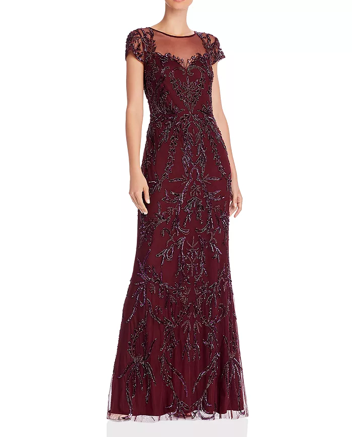 Adrianna Papell Cap Sleeve Beaded Bridesmaid Dress in Burgundy