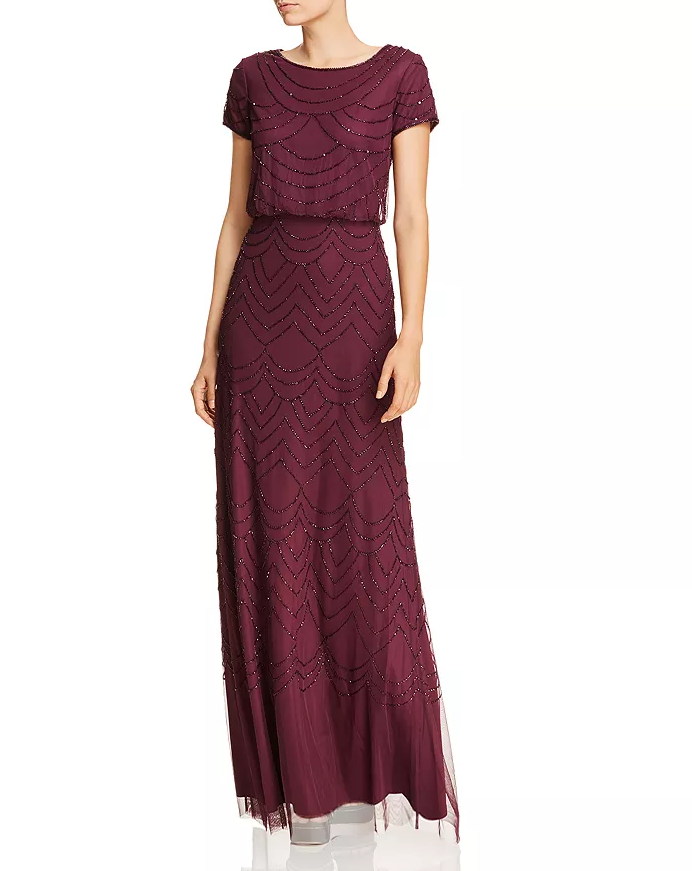 Adrianna Papell Beaded Burgundy Bridesmaid Dress