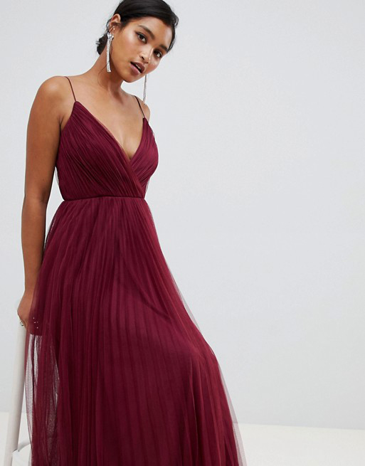 Cami Pleated Tulle Maxi Burgundy Dress