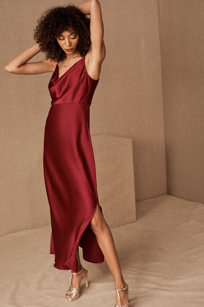 BHLDN Kari Silk Bridesmaid Dress in Burgundy