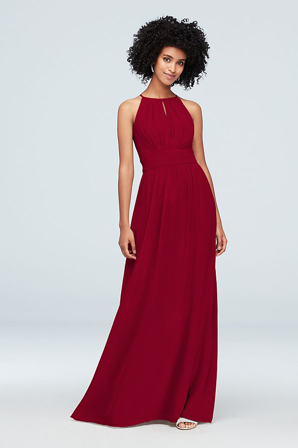 High-Neck Chiffon Dress With Keyhole