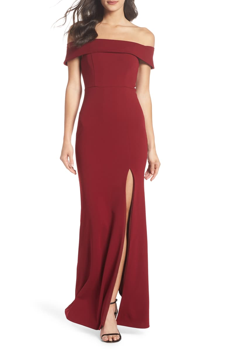 Lulu's Off-the-Shoulder Bridesmaids Dress in Burgundy