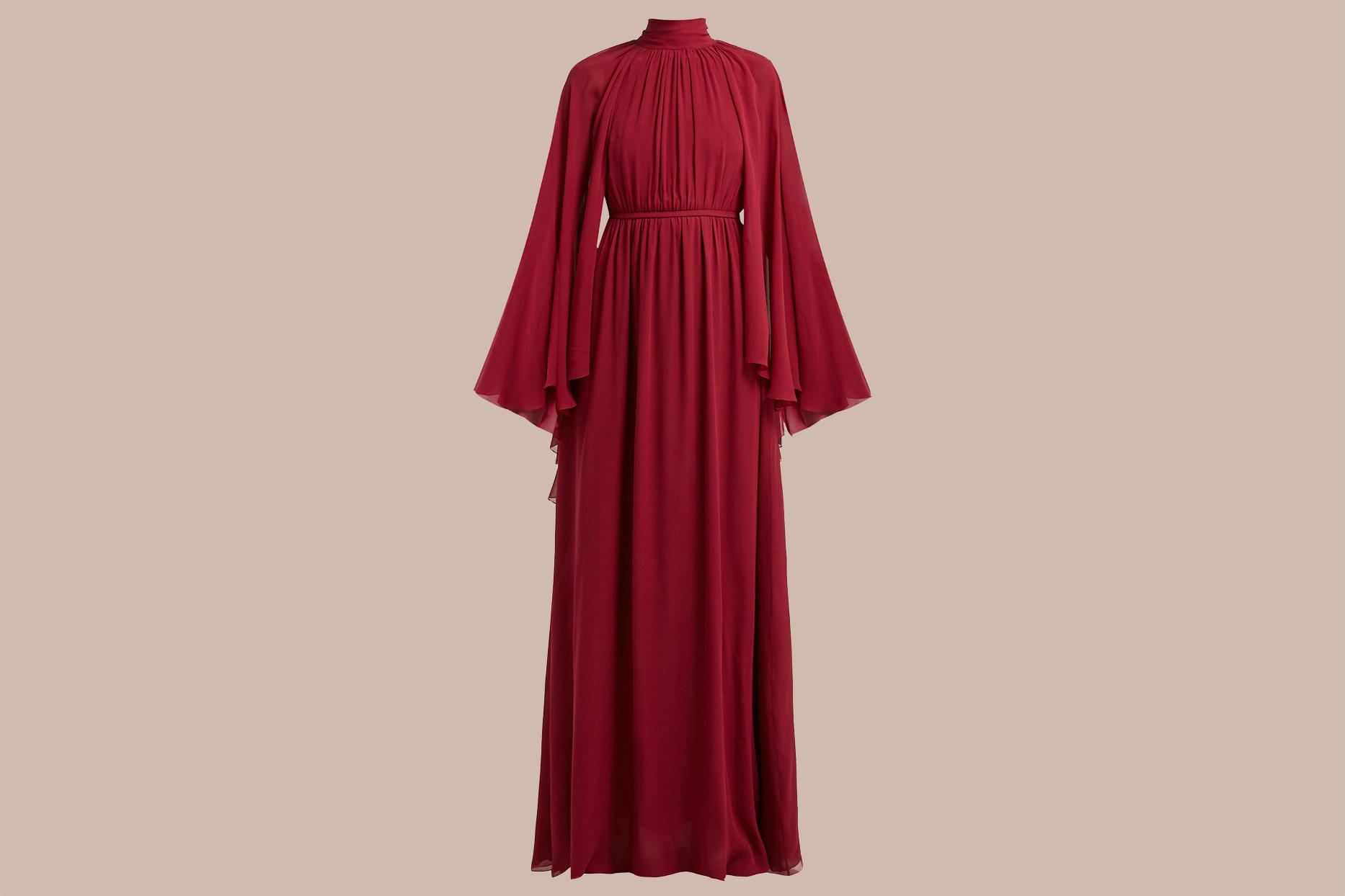 Giambattista Valli Gathered Cape Silk-Georgette Gown