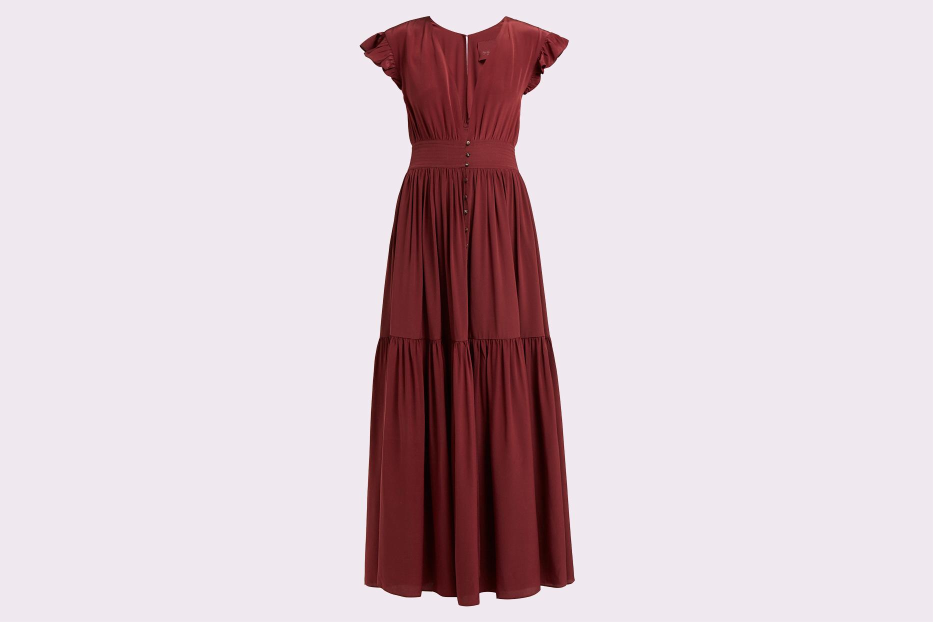 "Loup Charmant ""Mayette"" Plunge-Neck Silk Dress"