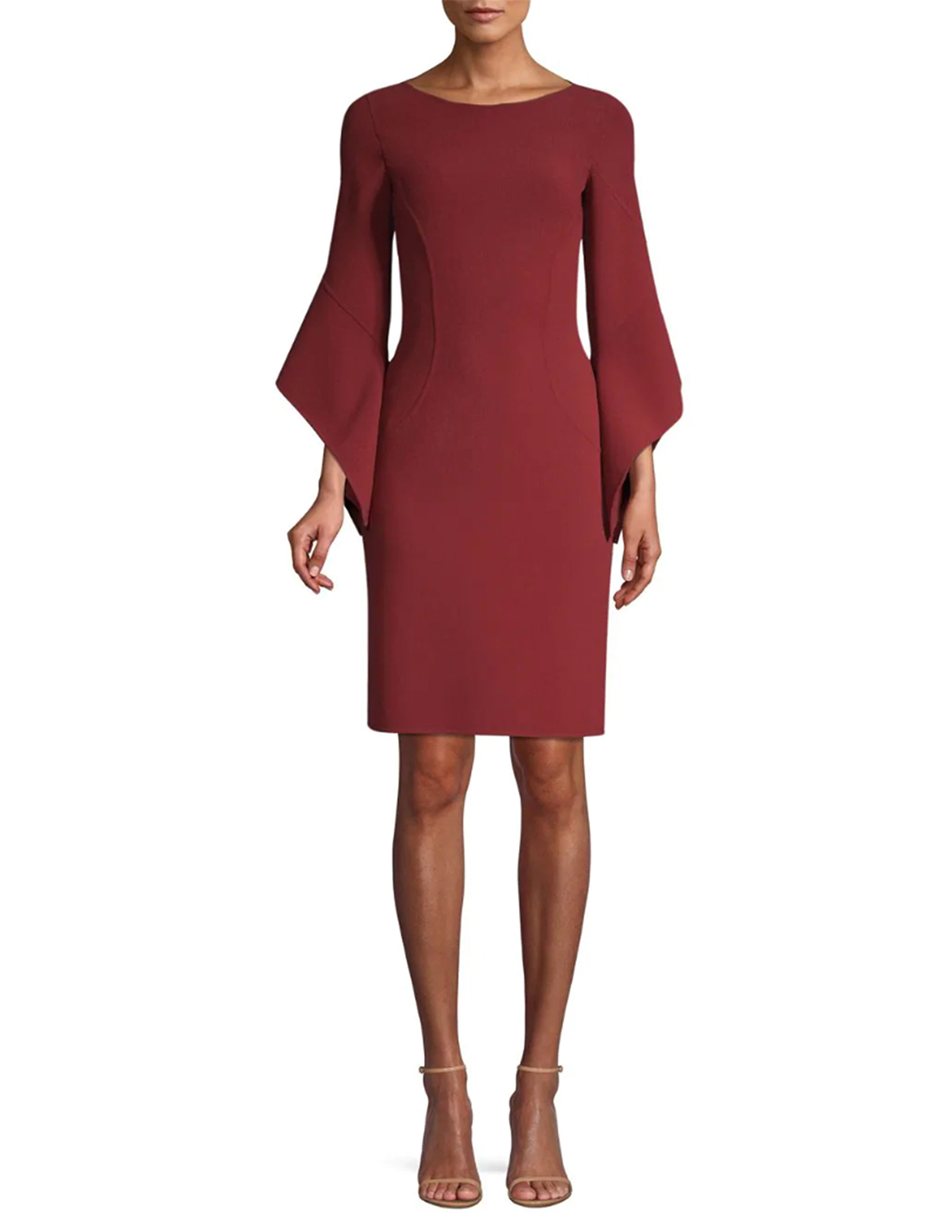 Michael Kors Collection Stretch Wool Crepe Drape-Sleeve Sheath Dress