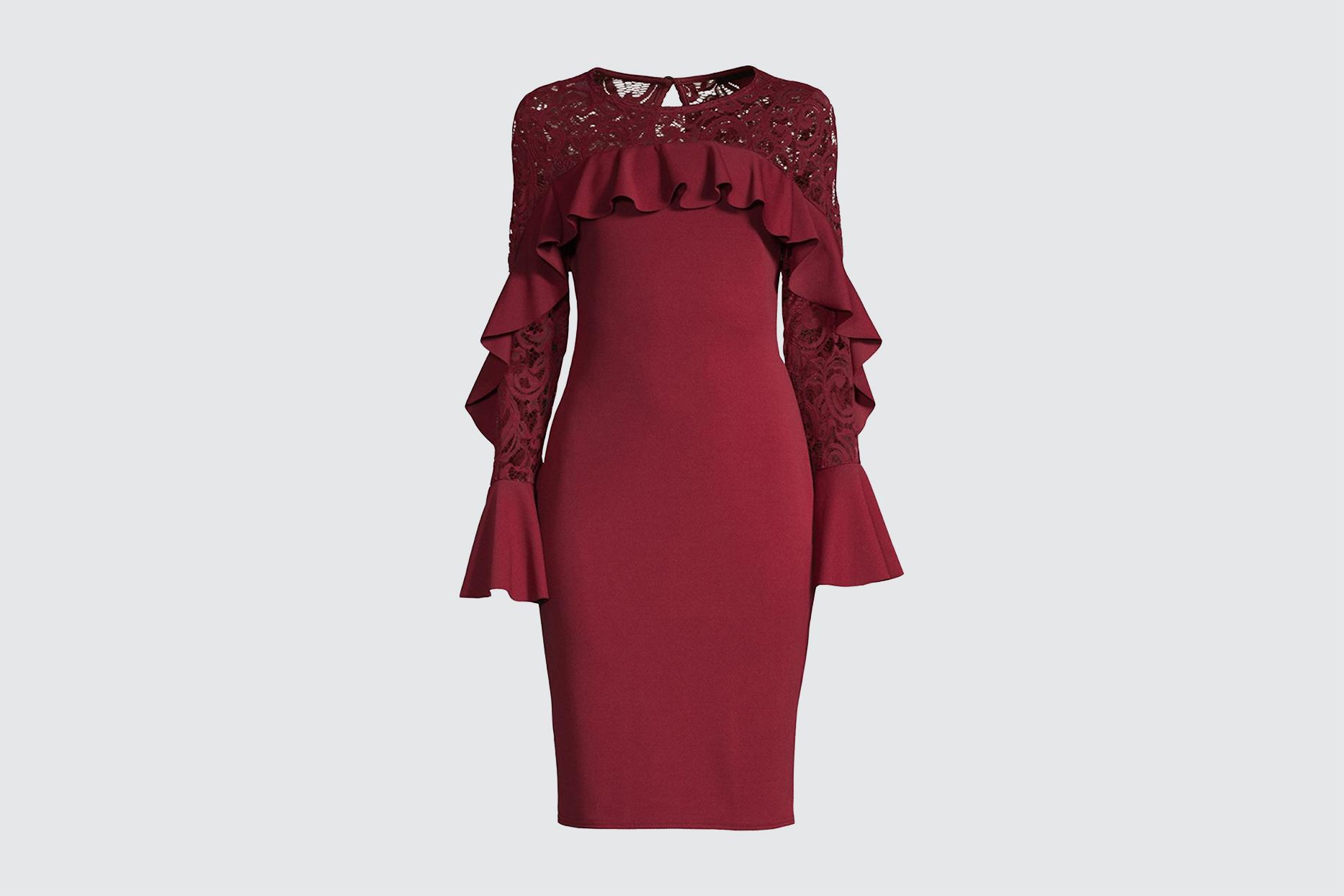 Quiz Ruffle-Trimmed Sheath Dress