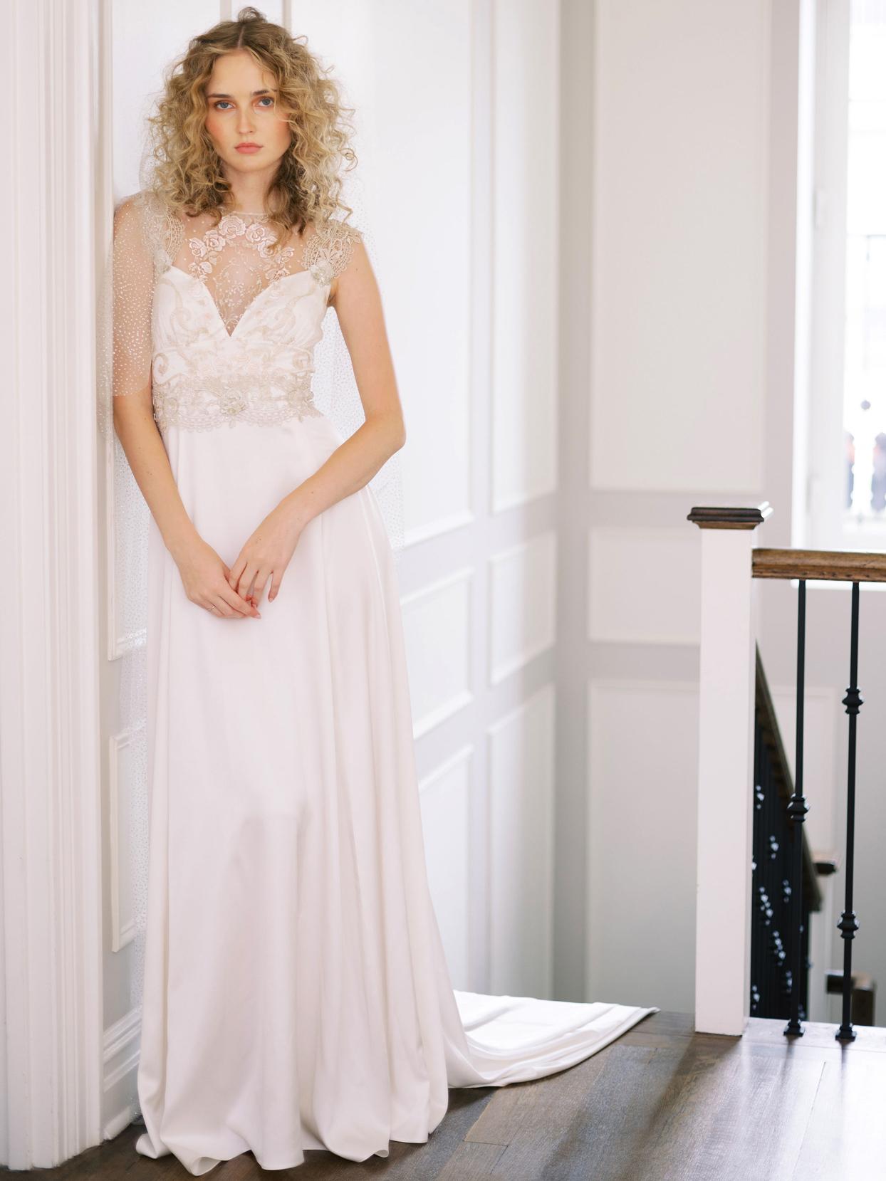 Claire Pettibone lace sleeveless train a-line wedding dress fall 2020