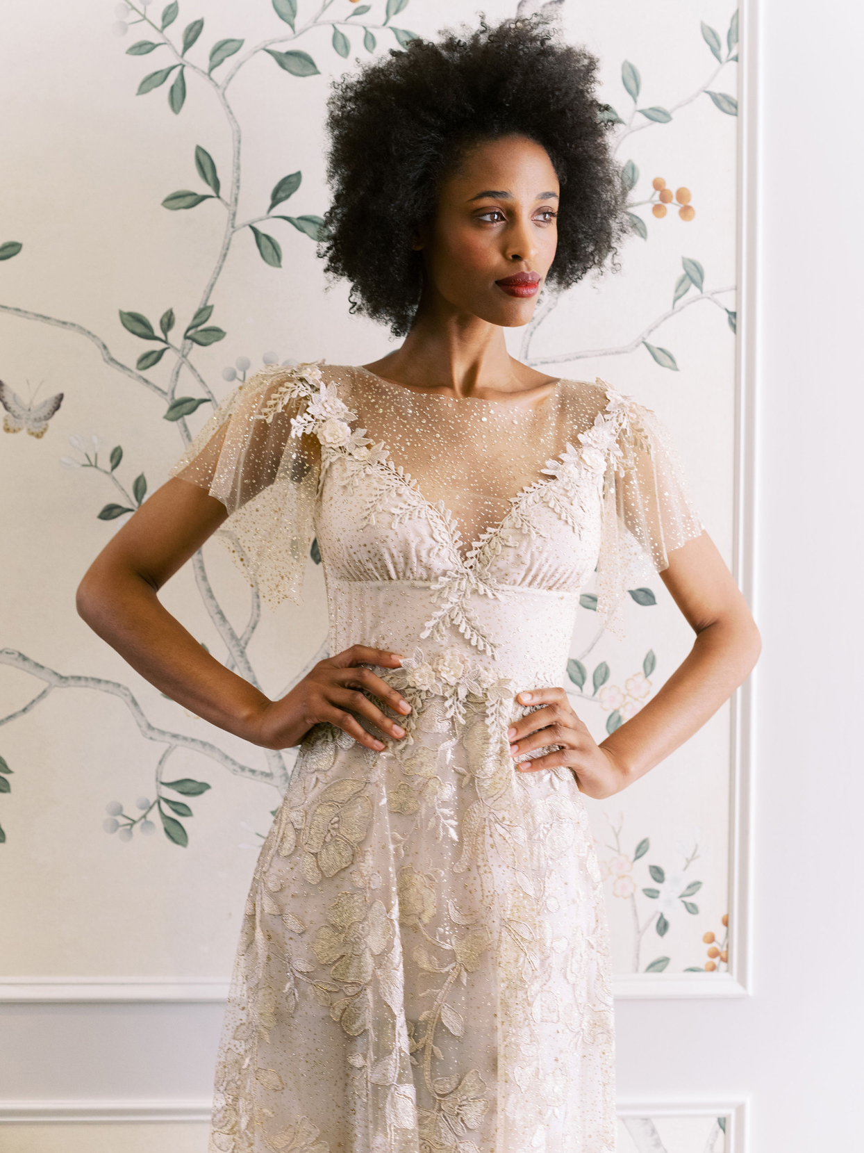Claire Pettibone short flutter sleeve sheer illusion high neckline wedding dress fall 2020