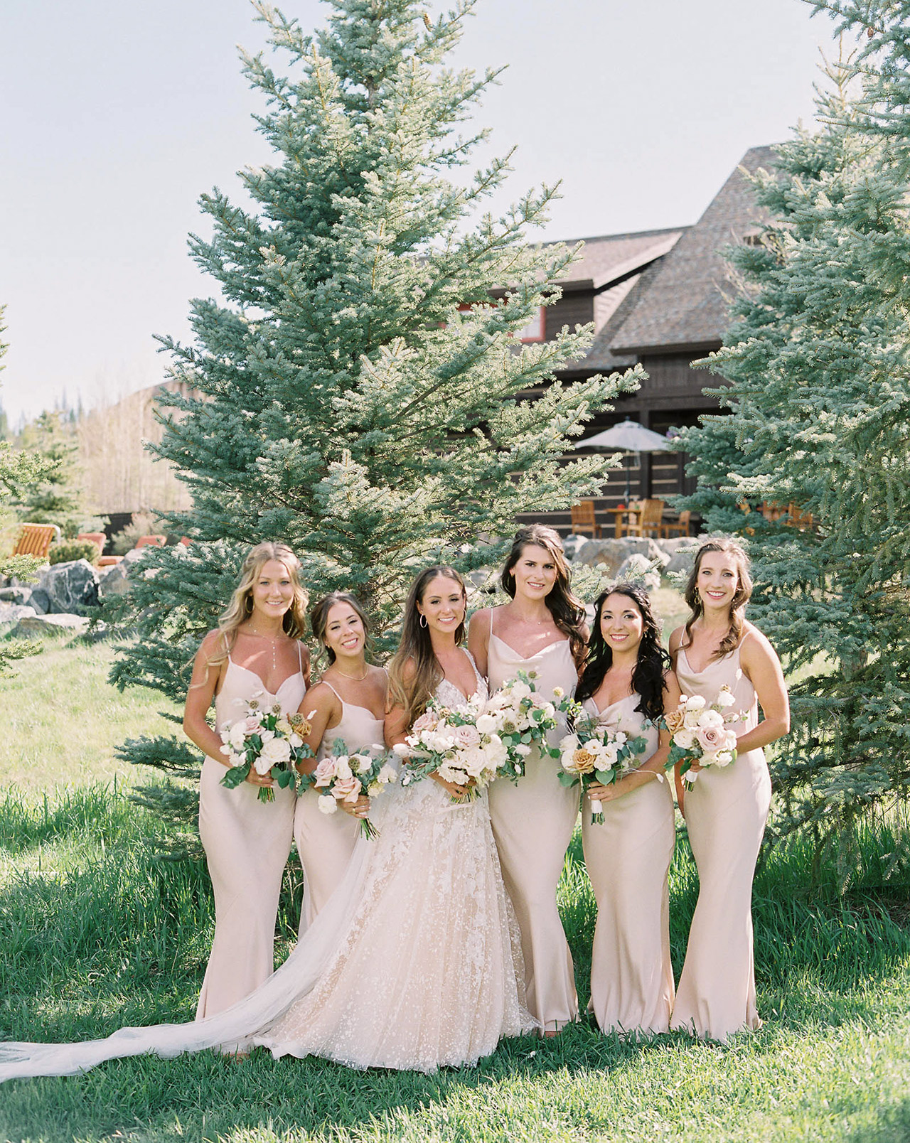 bride bridesmaids champaign colored gowns