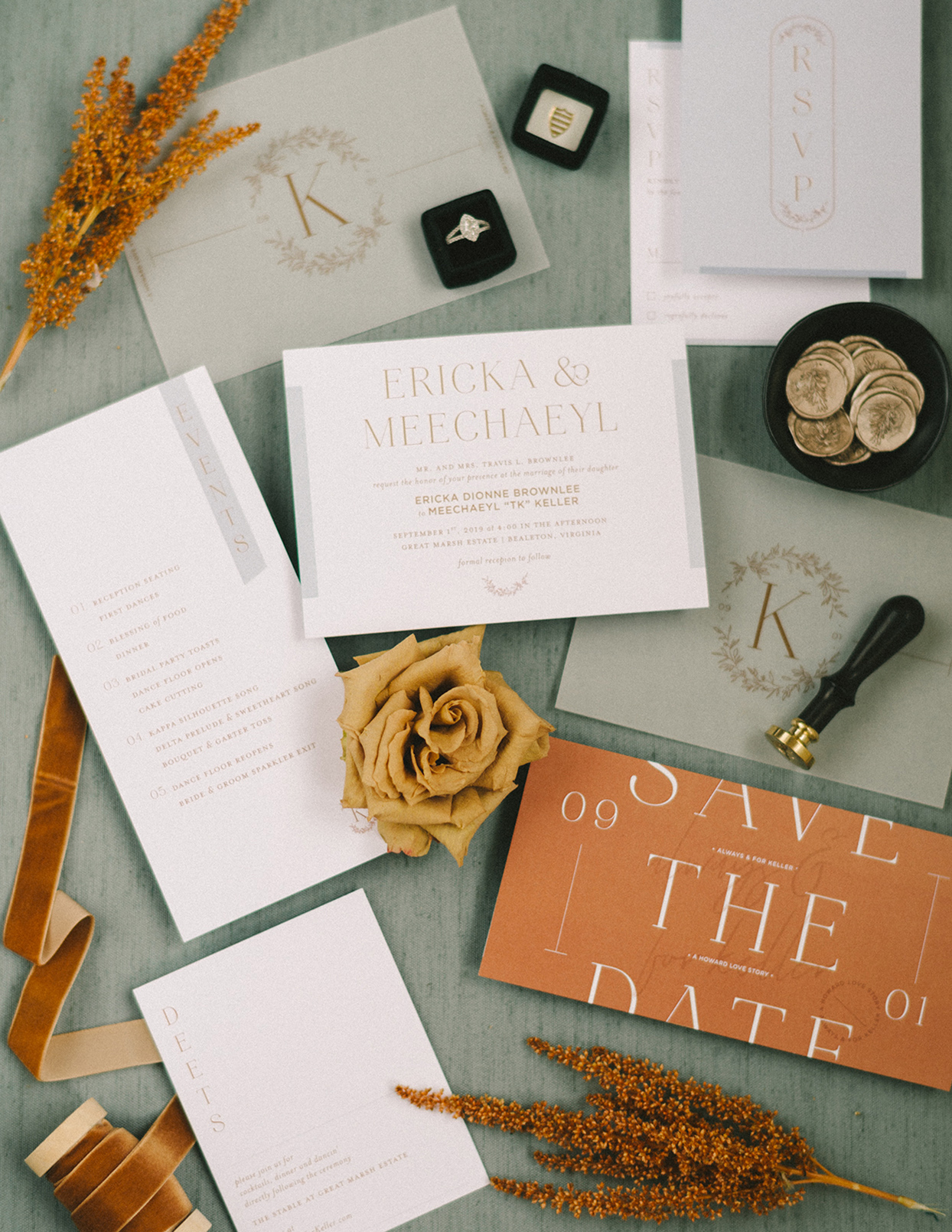 ericka meechaeyl wedding invites in rust and white