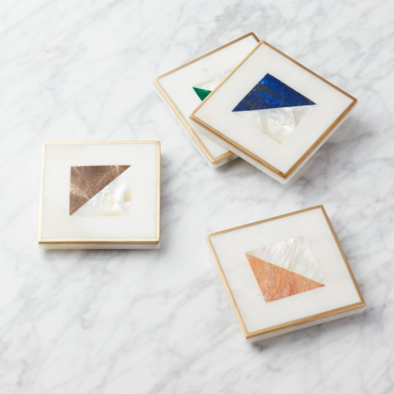 CB2 Two Fold Brass and Marble Coasters