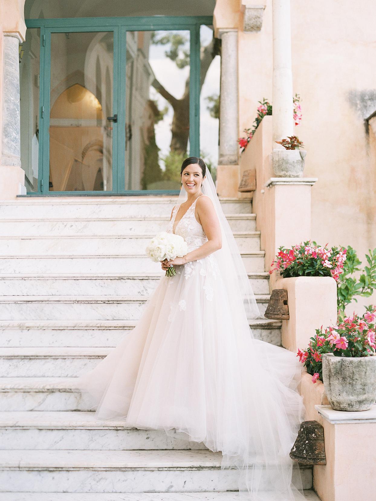 jacqueline david wedding bride on marble steps