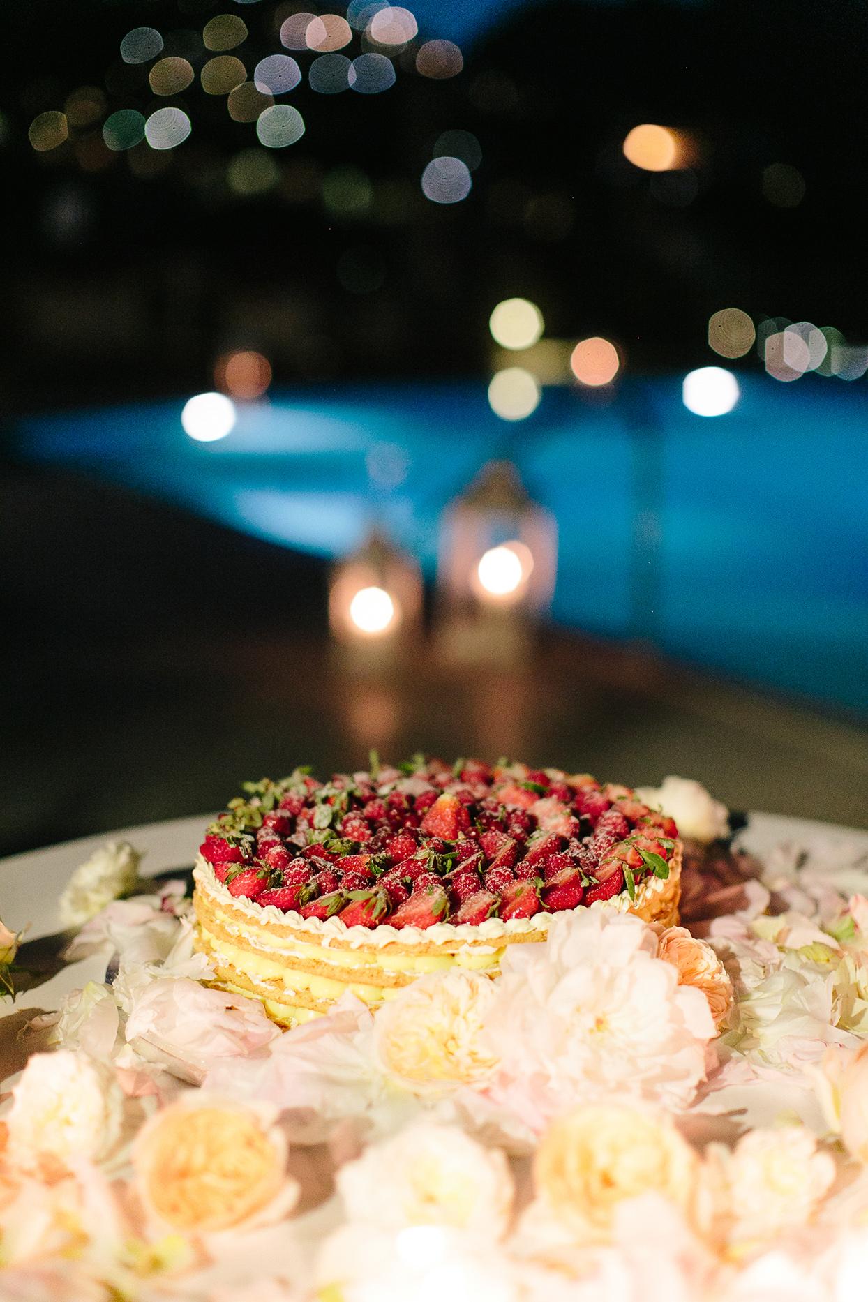 jacqueline david wedding cake covered in strawberries