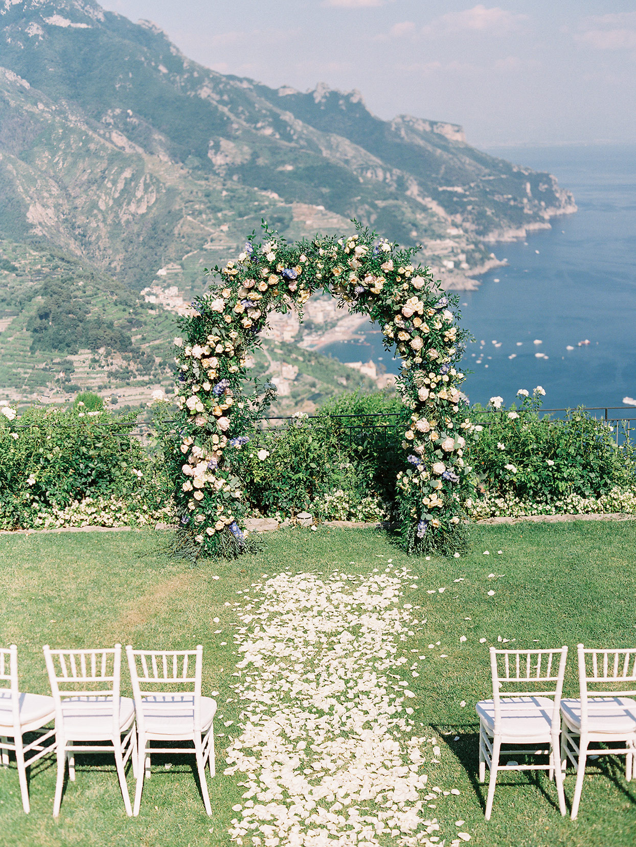 jacqueline david wedding ceremony space overlooking mountains