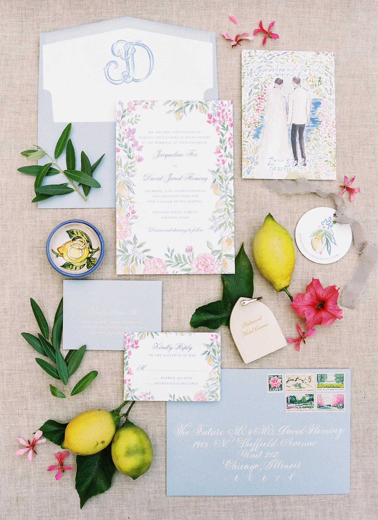 jacqueline david wedding blue pink and white invitations