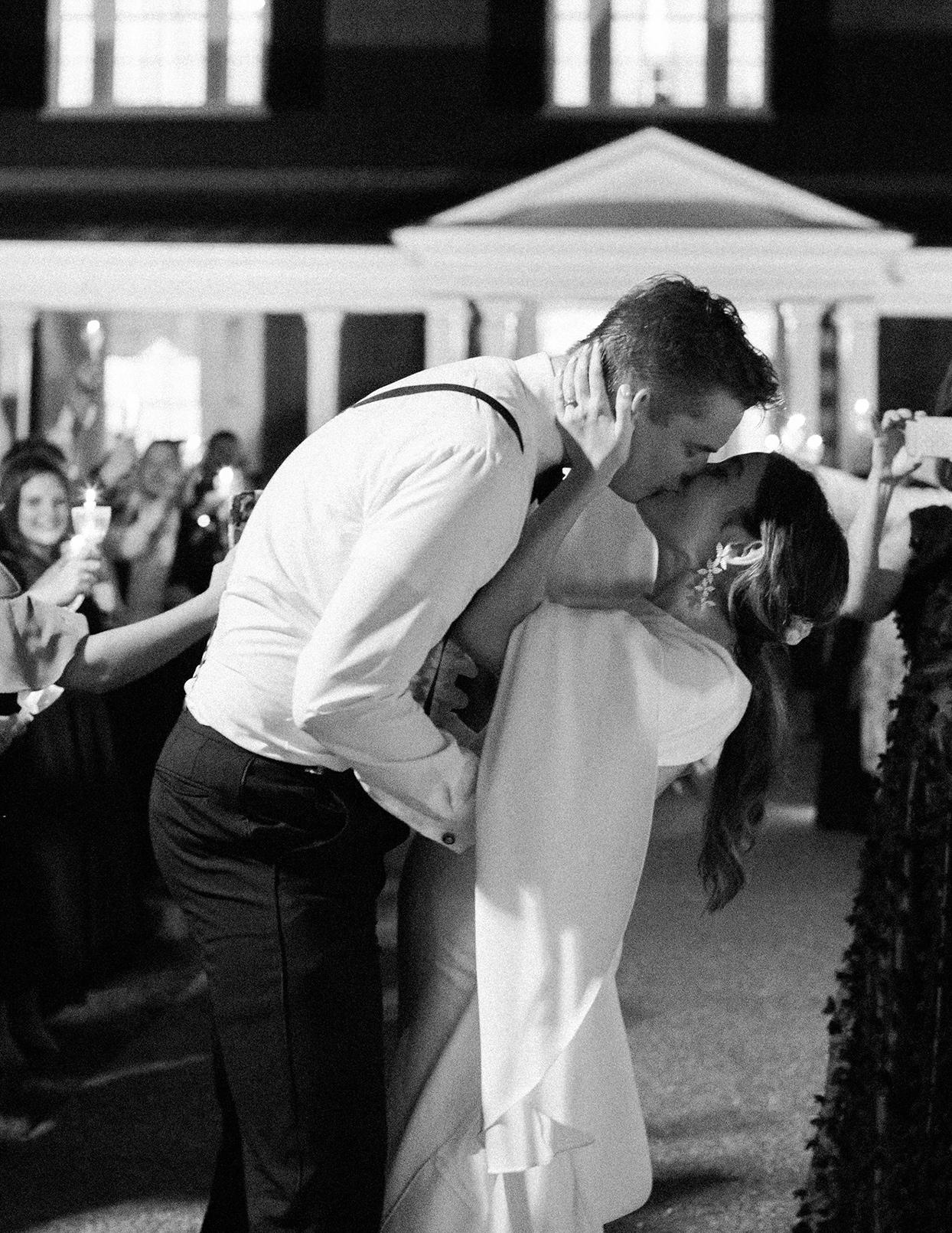 julia doug wedding exit kiss