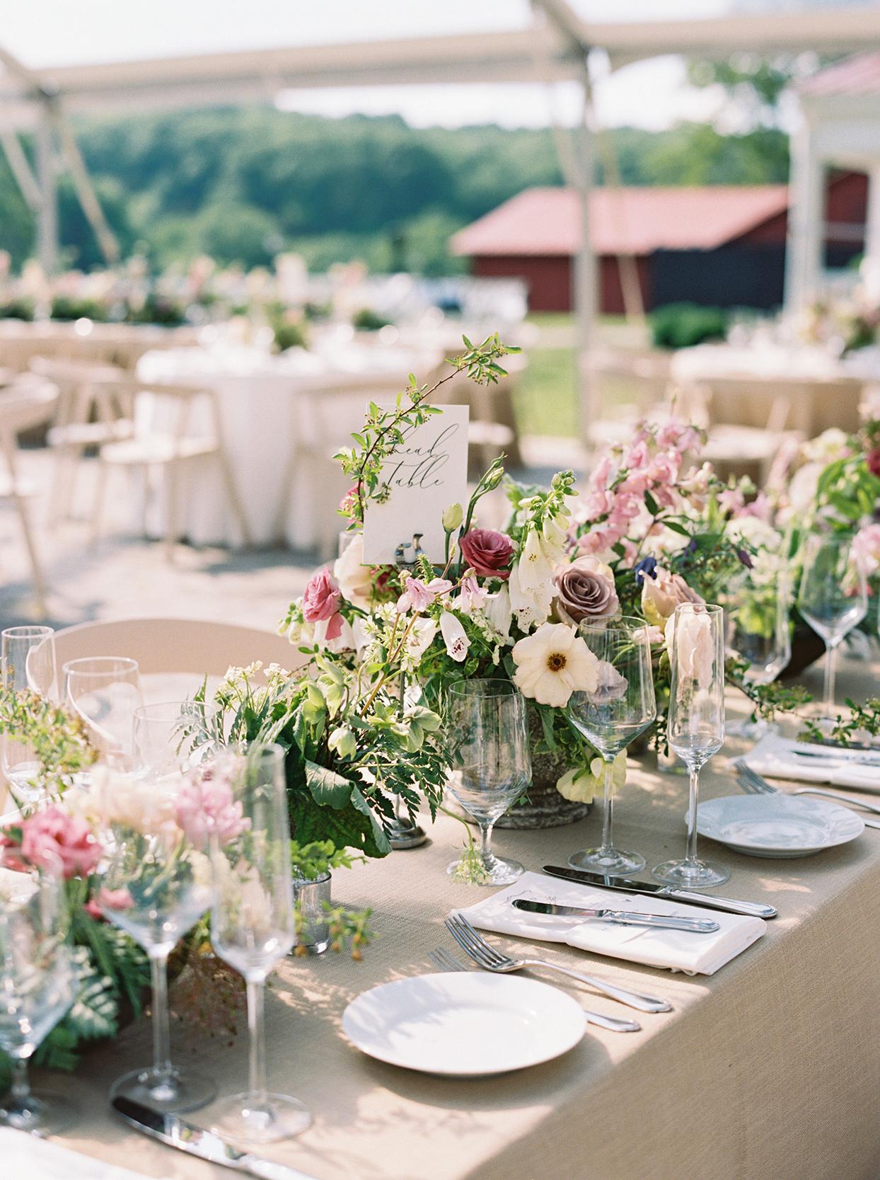 julia doug wedding reception floral centerpieces