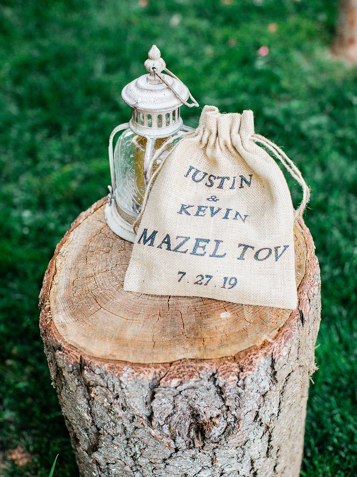 justin kevin wedding ceremony glass and burlap sack