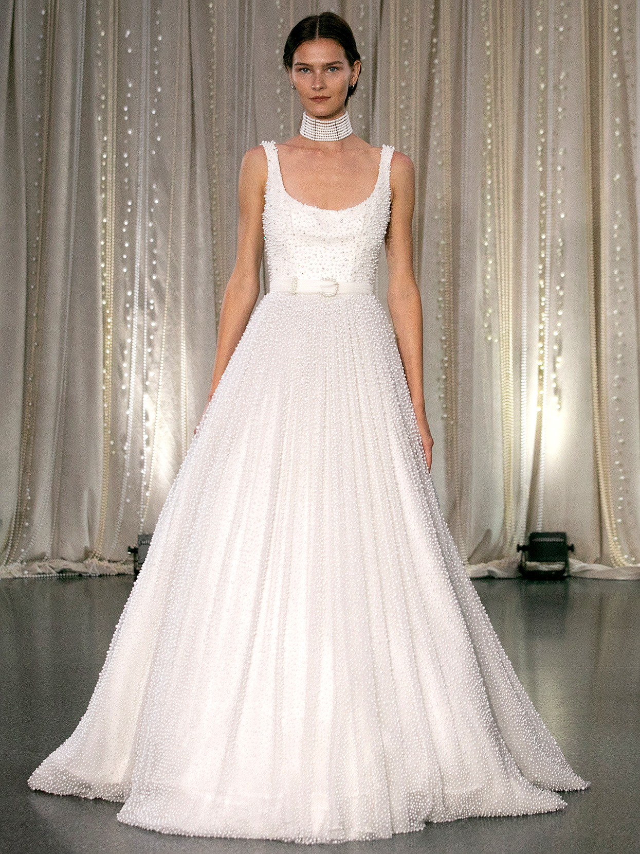 Lee Petra Grebenau scoop-neck belted embellished a-line wedding dress fall 2020