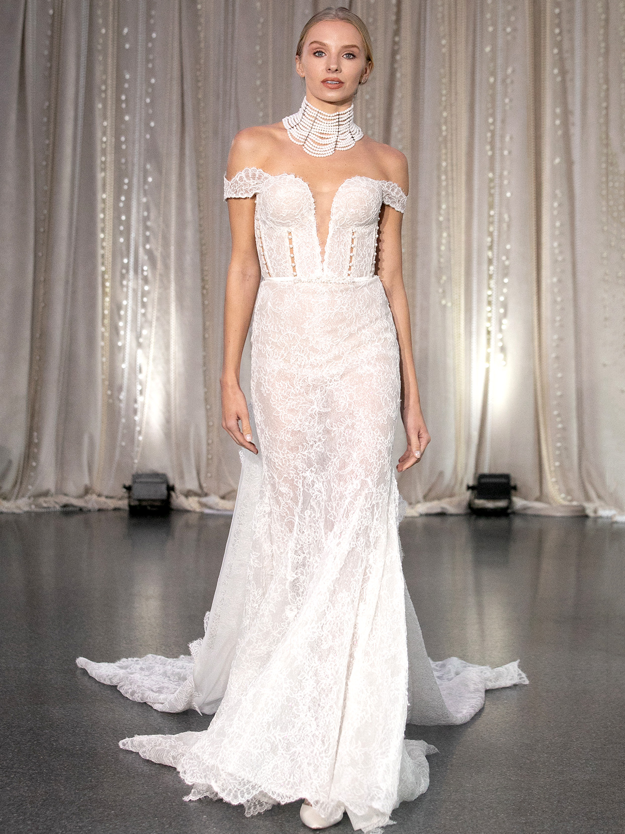 Lee Petra Grebenau off-the-shoulder lace plunging neck wedding dress fall 2020