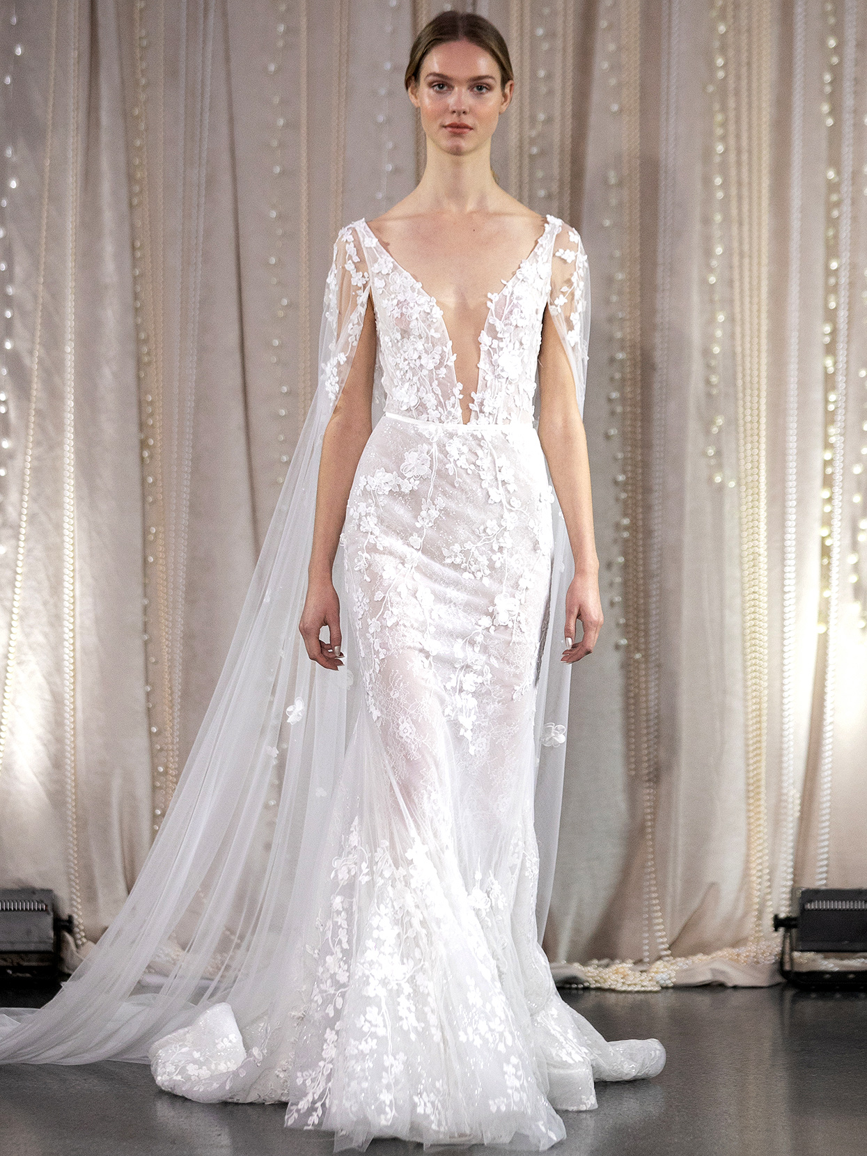 Lee Petra Grebenau v-neck embellished with cape wedding dress fall 2020