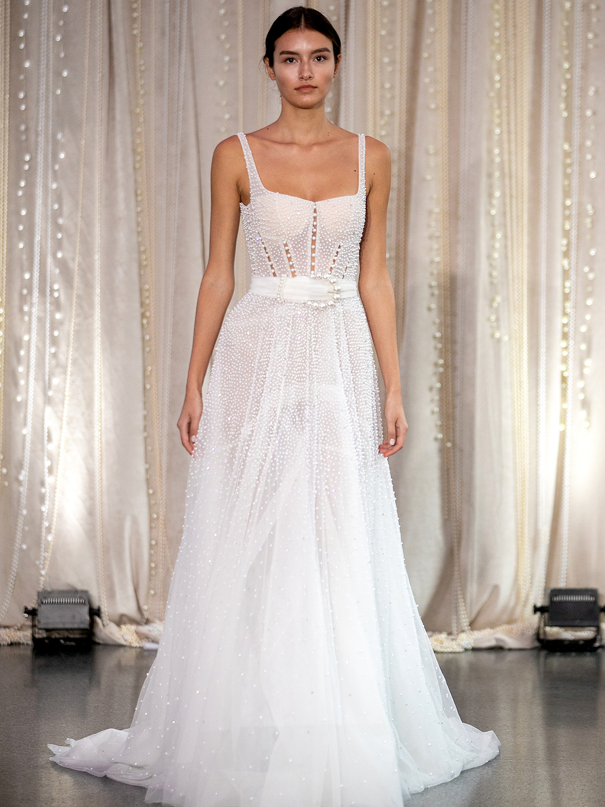Lee Petra Grebenau embellished square-neck with belt wedding dress fall 2020