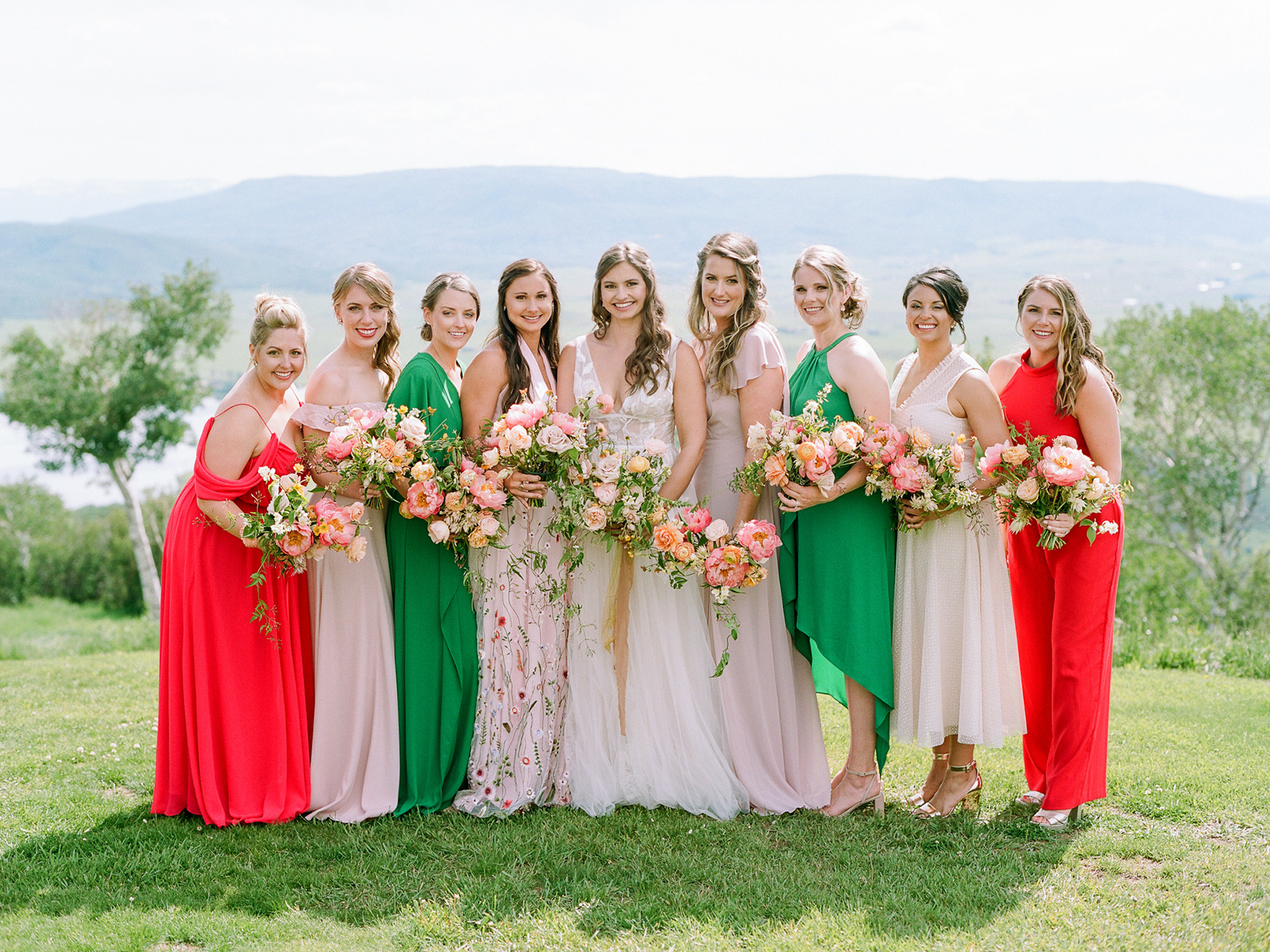 logan conor wedding bridesmaids in bright red, green and blush