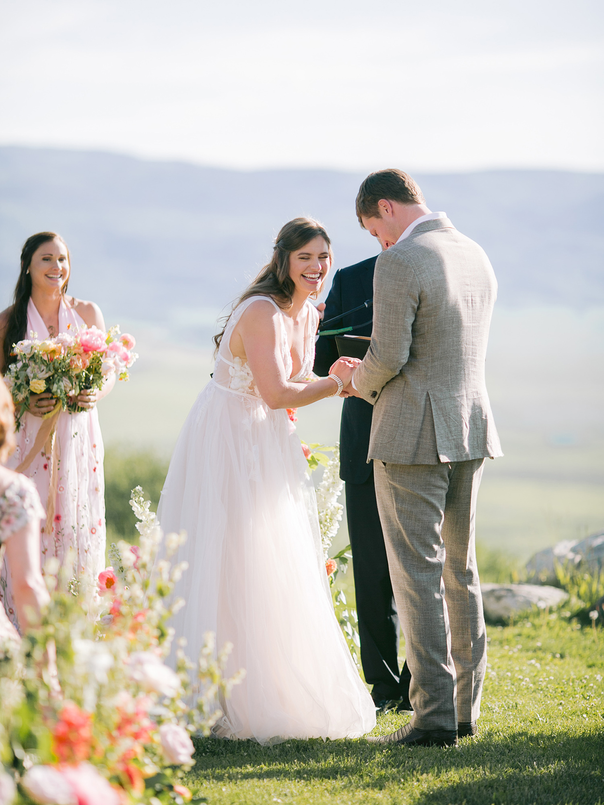 logan conor wedding ceremony couple laughing