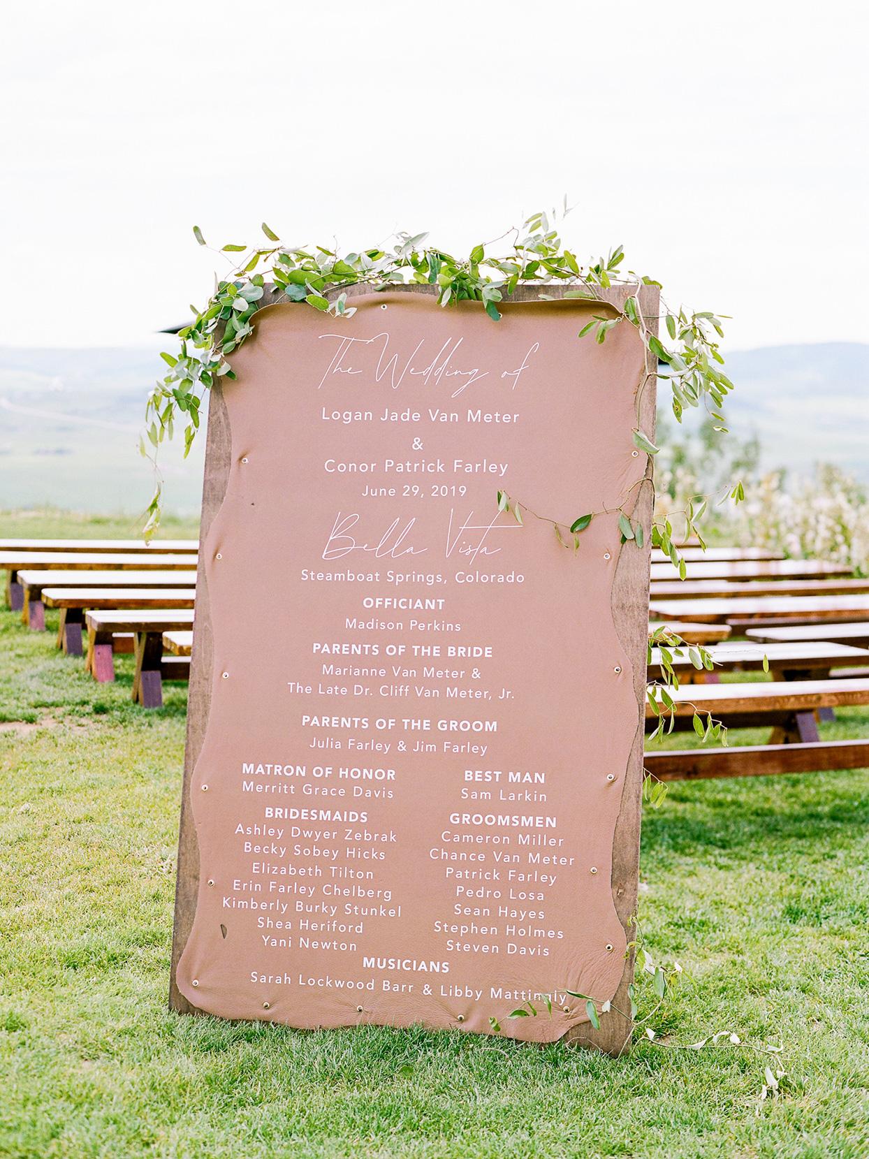 logan conor wedding ceremony program sign