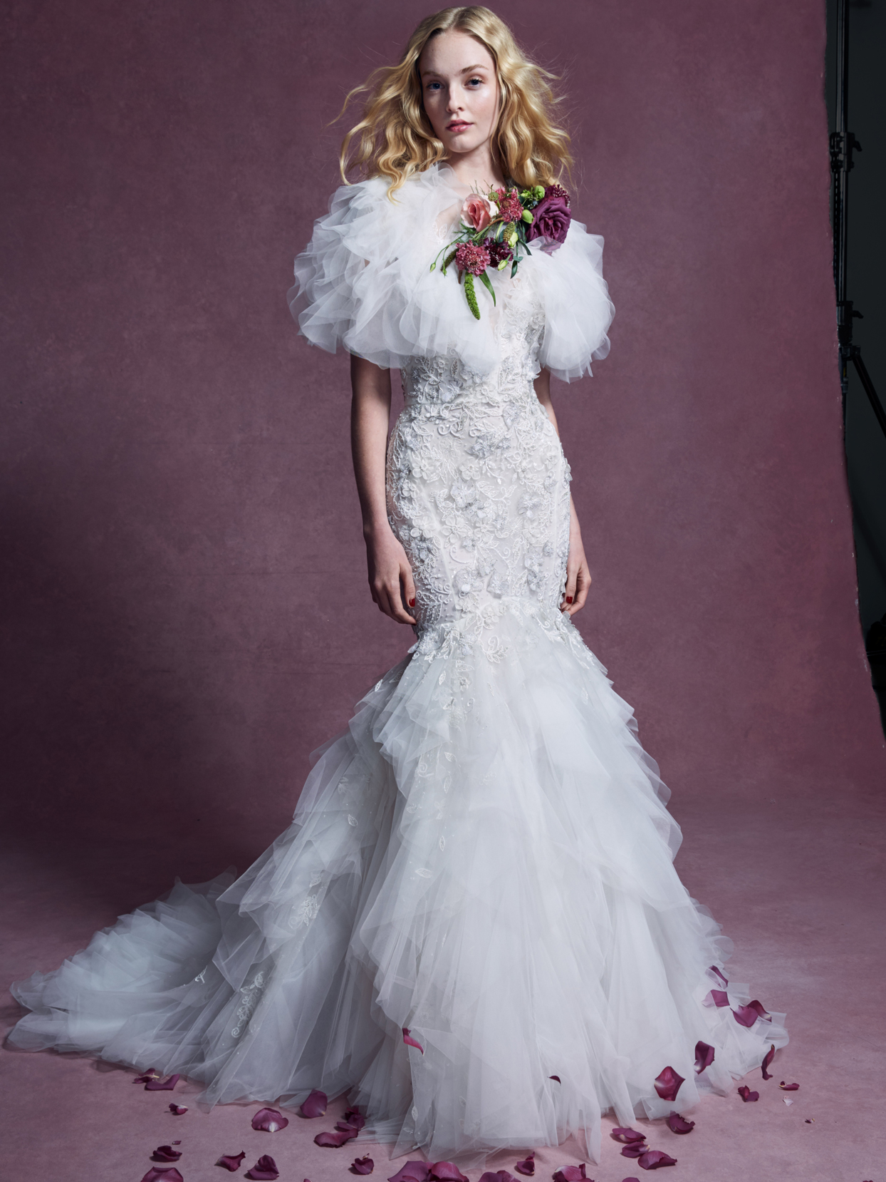 Marchesa layered tulle floral embroidered applique mermaid wedding dress fall 2020