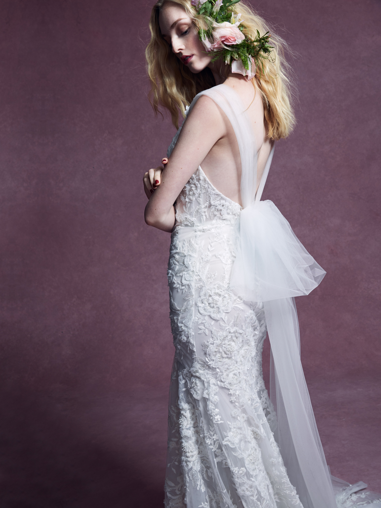Marchesa tulle bow back accent lace mermaid wedding dress fall 2020