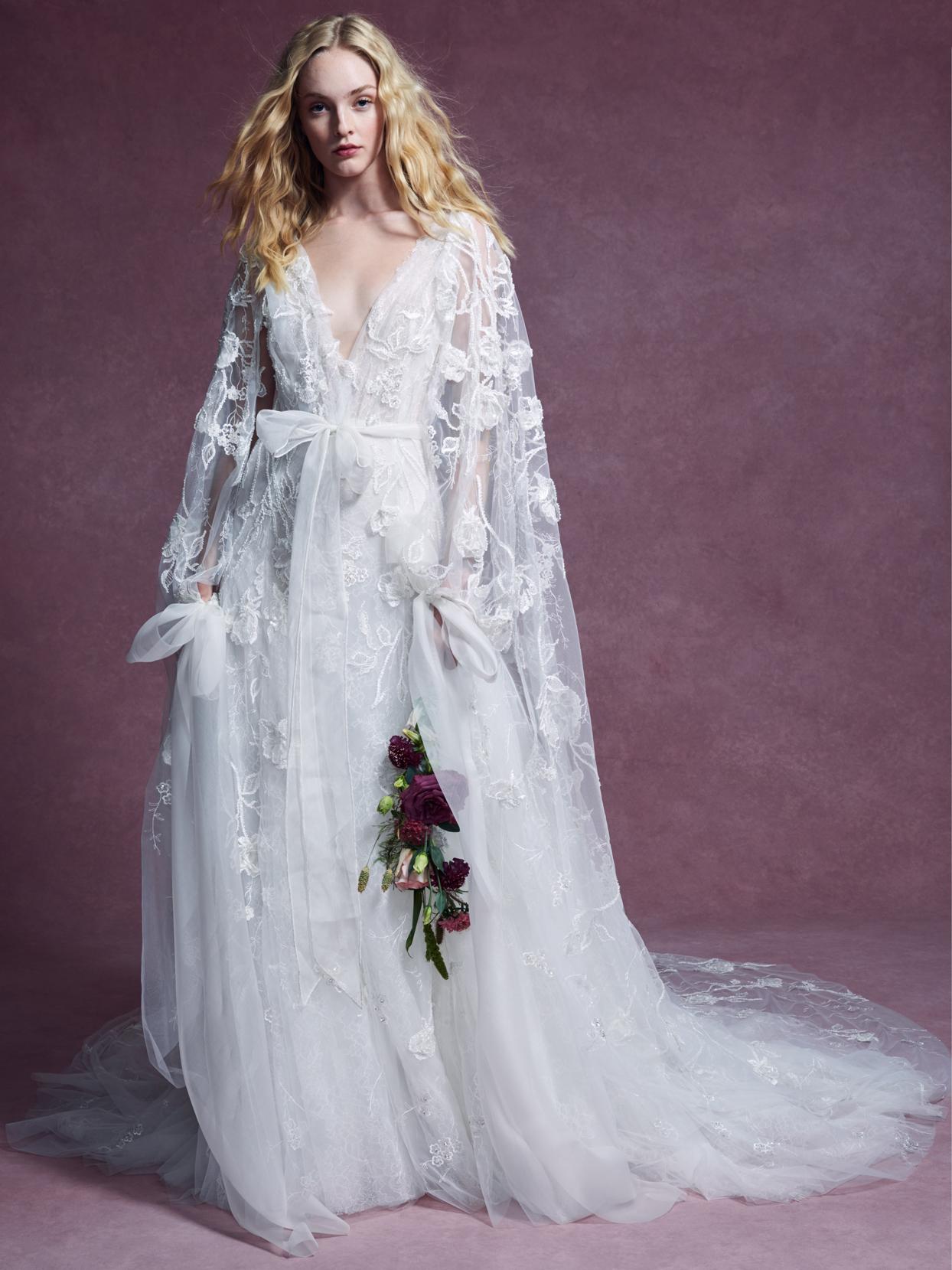 Marchesa deep v-neck lace bow belt tulle a-line wedding dress fall 2020