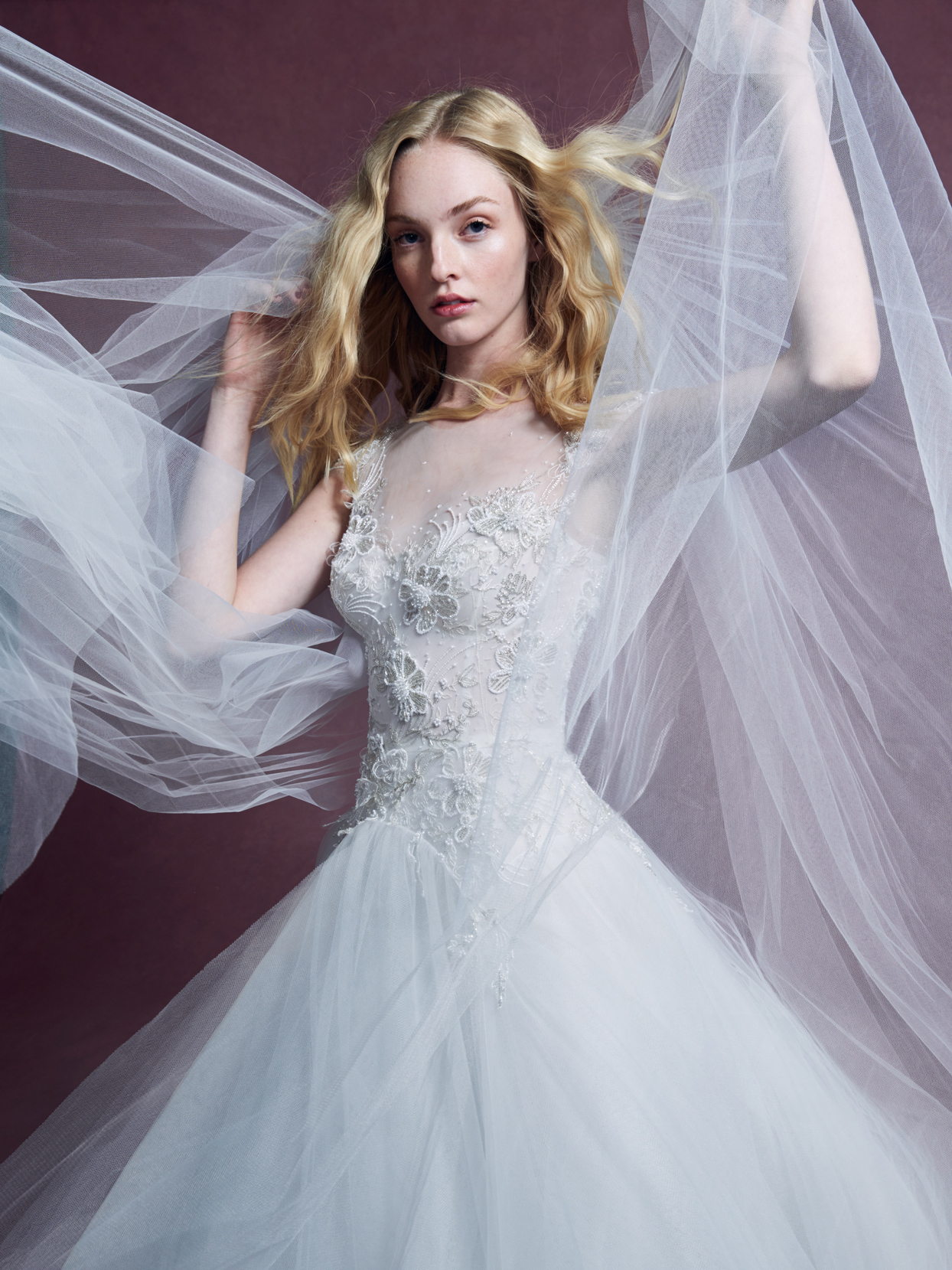Marchesa sheer tulle illusion high-neck short sleeve lace a-line wedding dress fall 2020