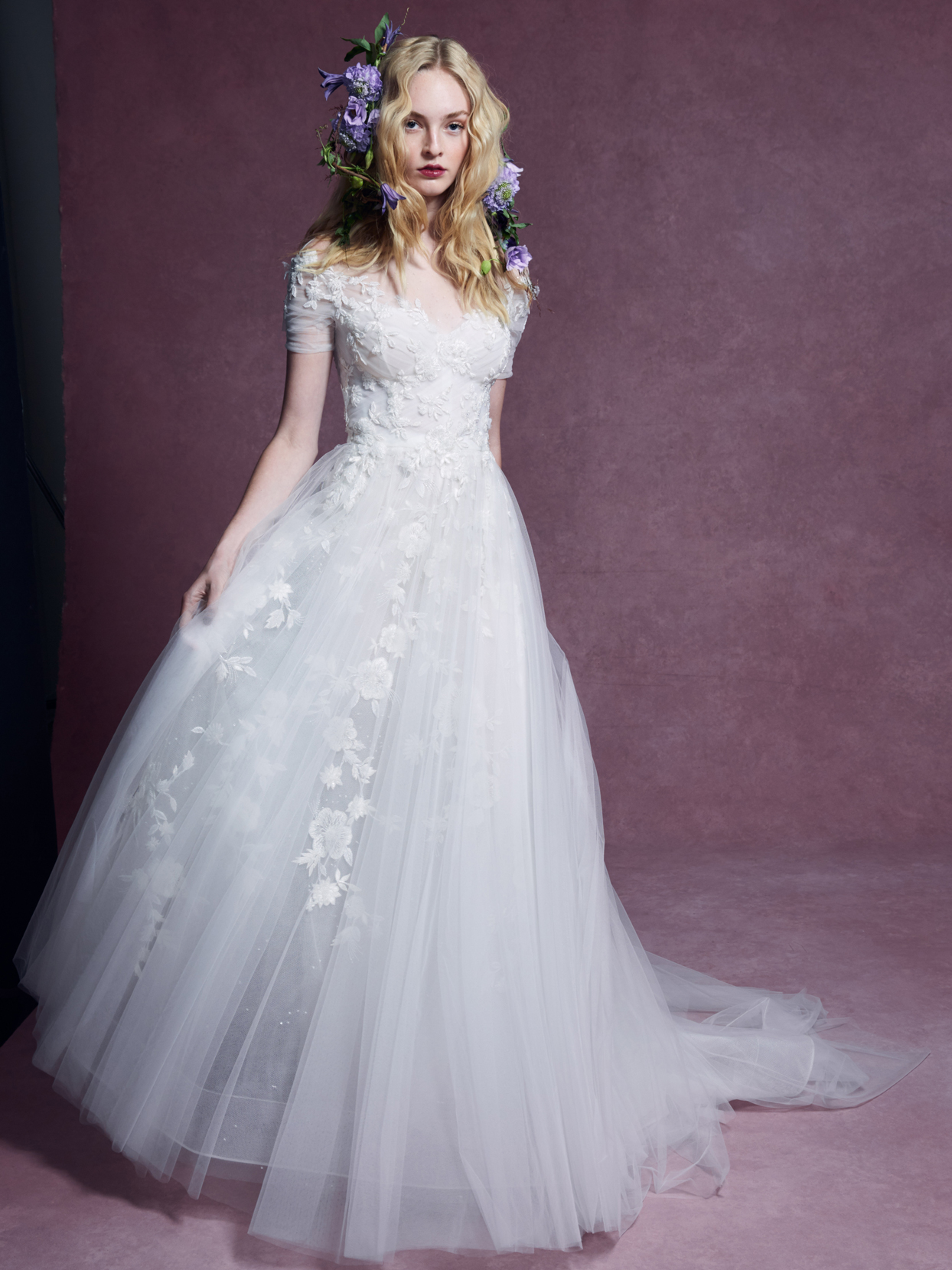 Marchesa lace and tulle short sleeve a-line wedding dress fall 2020