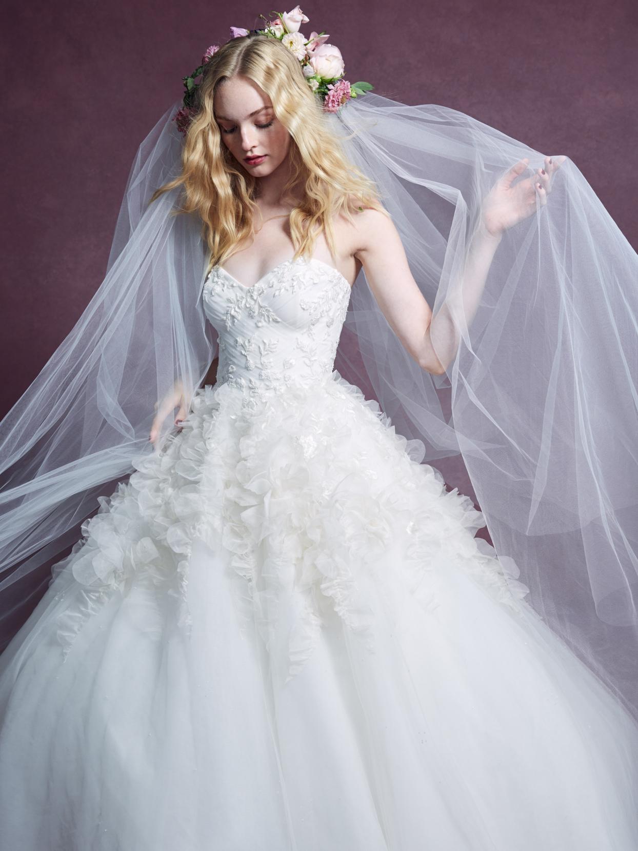 Marchesa strapless sweetheart neckline tulle ball gown wedding dress fall 2020
