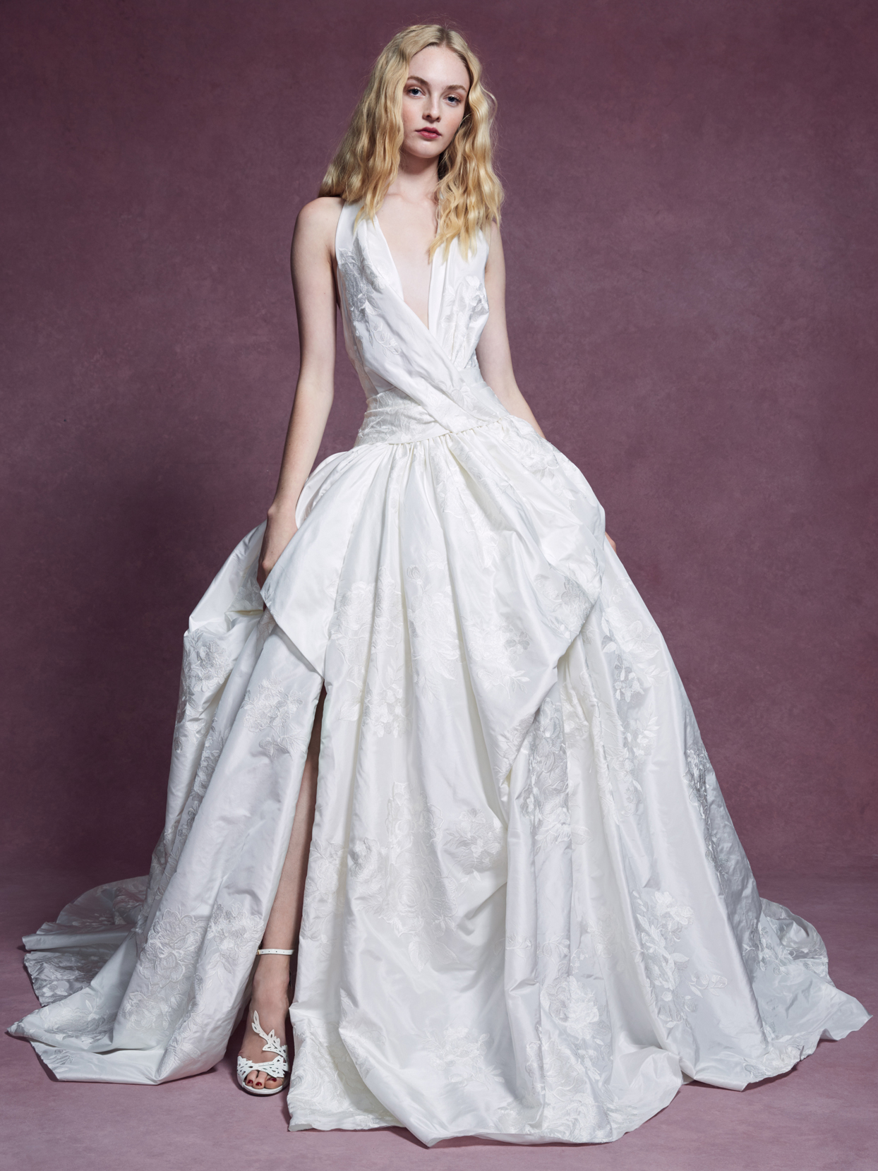 Marchesa plunging v-neck side slit drop waist a-line wedding dress fall 2020