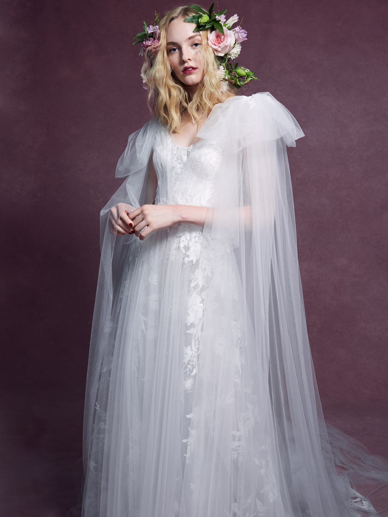Marchesa tulle sweetheart lace a-line wedding dress fall 2020