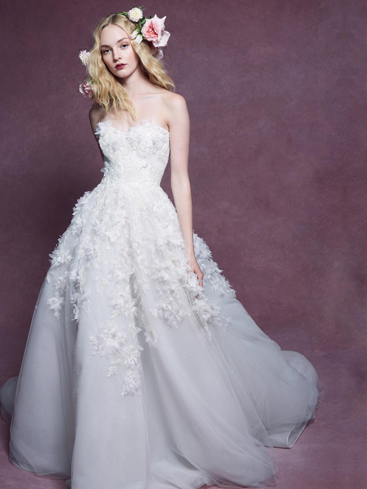 Marchesa strapless floral applique ball gown wedding dress fall 2020